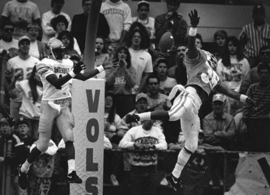 During the fourth quarter, Vol Mark Fletcher foils Vanderbilt's only chance to score by batting the ball away from intended receiver Derrick Gragg on November 30, 1991.