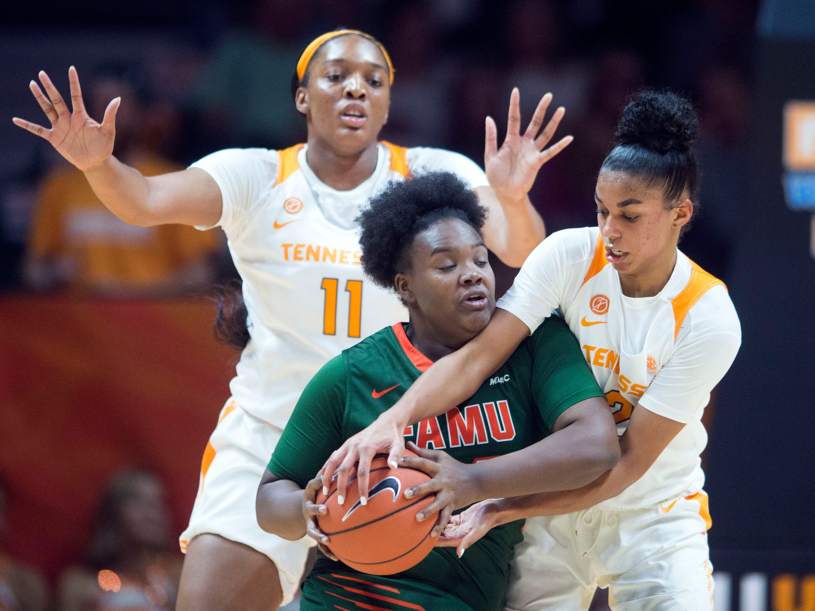 Tennessee's Evina Westbrook (2) tries to steal the ball from Florida A&M's Auryel Perkins (34) on Sunday, November 18, 2018 at Thompson-Boling Arena.