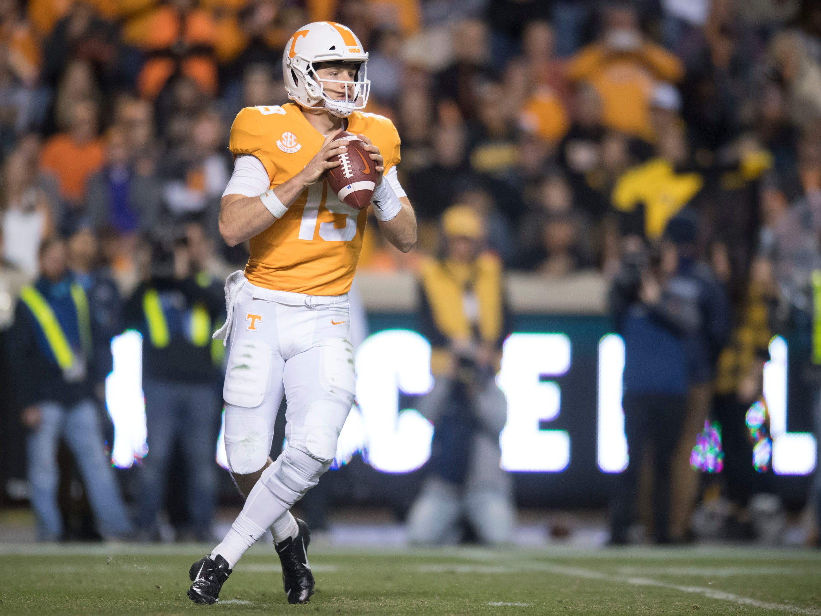 Tennessee quarterback Keller Chryst (19) looks for an open receiver during the game against Missouri on Saturday, November 17, 2018.