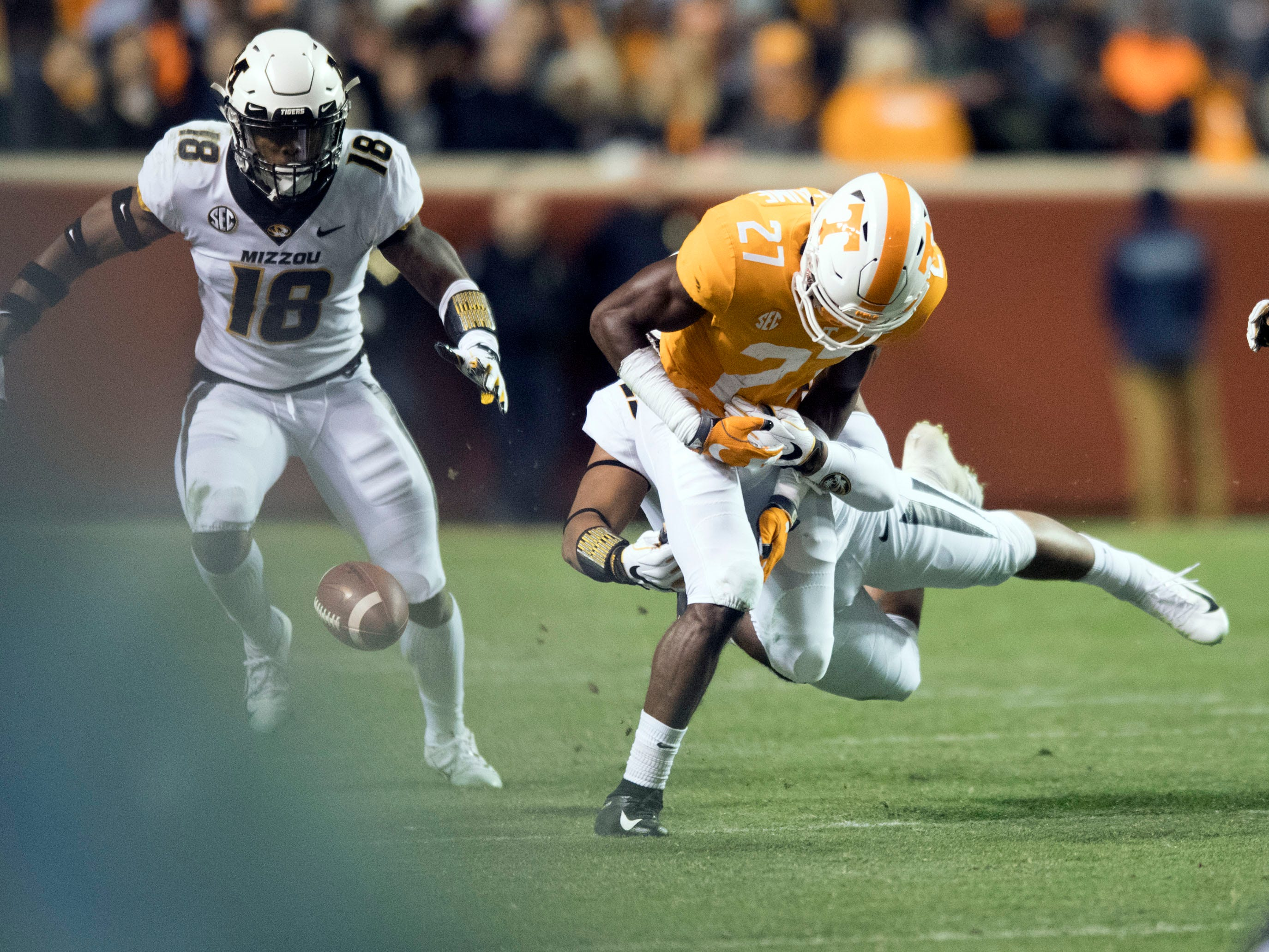Tennessee defensive back Carlin Fils-aime (27) fumbles the ball during the game against Missouri on Saturday, November 17, 2018.