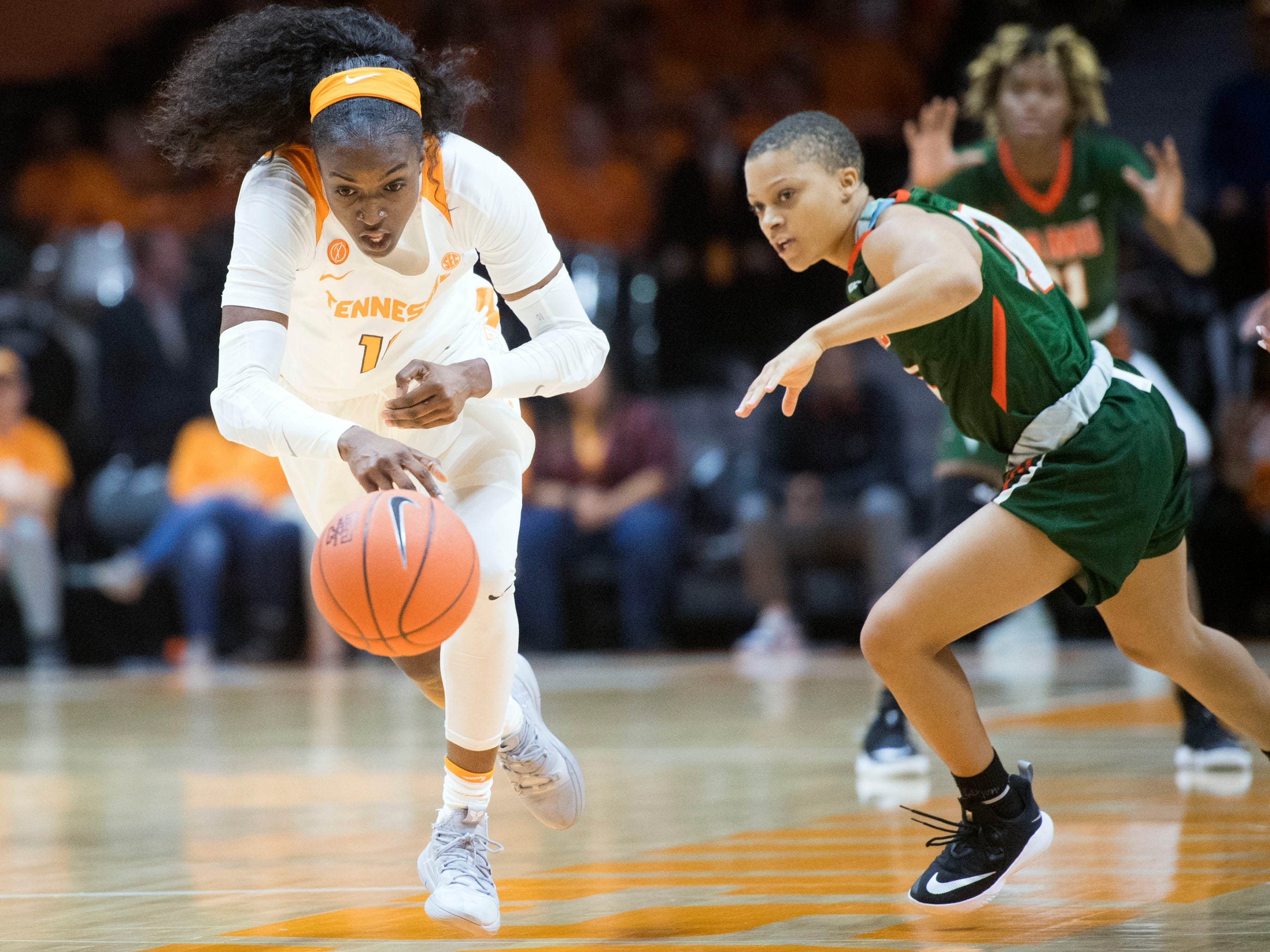 Tennessee's Meme Jackson (10) steals the ball from Florida A&M's Morgan Mitchell (11) on Sunday, November 18, 2018 at Thompson-Boling Arena.