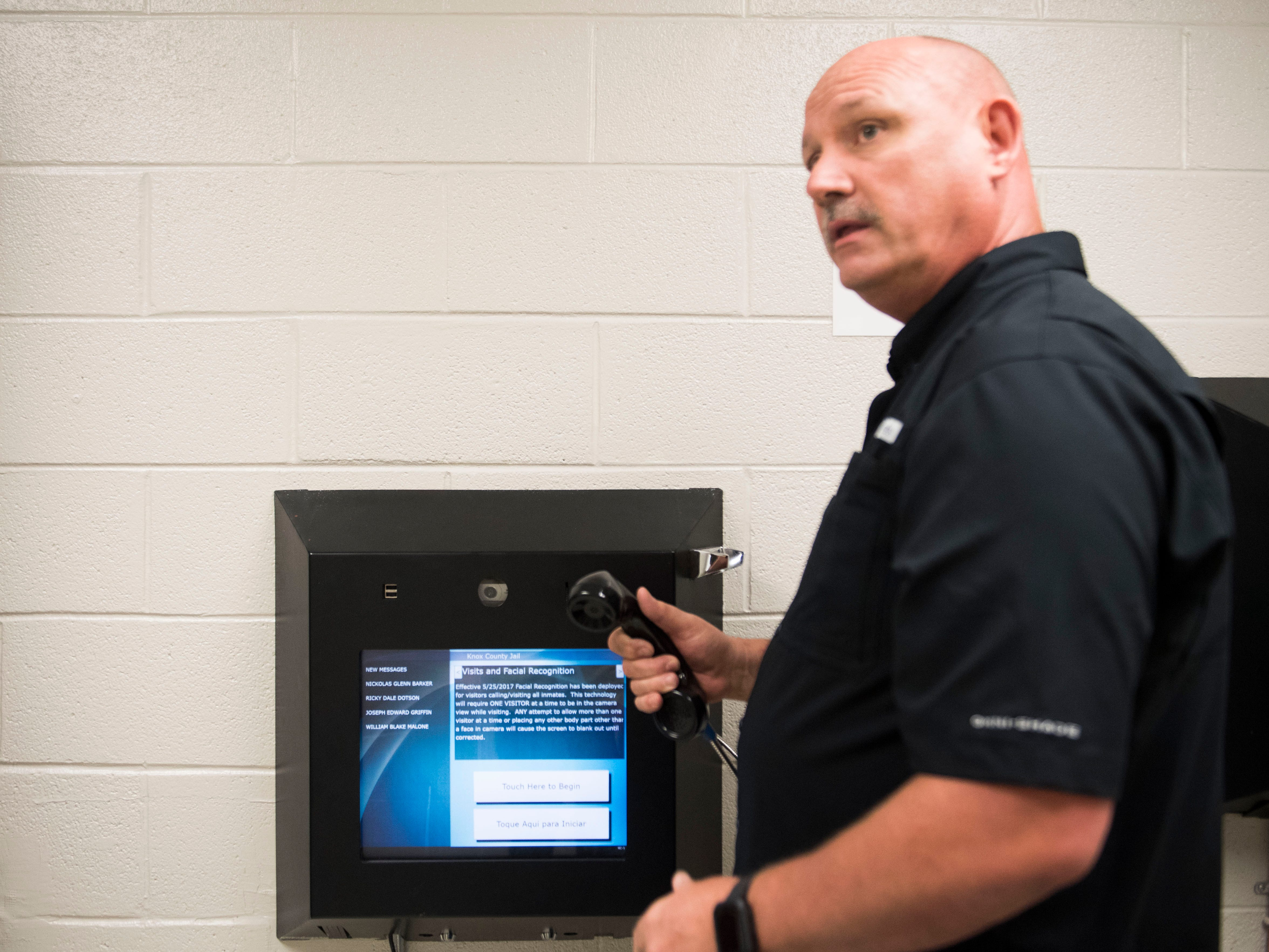 Director of Corrections for the Knox County Sheriff's Office, Rodney Bivens, demonstrates how video visitation works at the Knox County Jail in Knox County Tuesday, May 15, 2018.