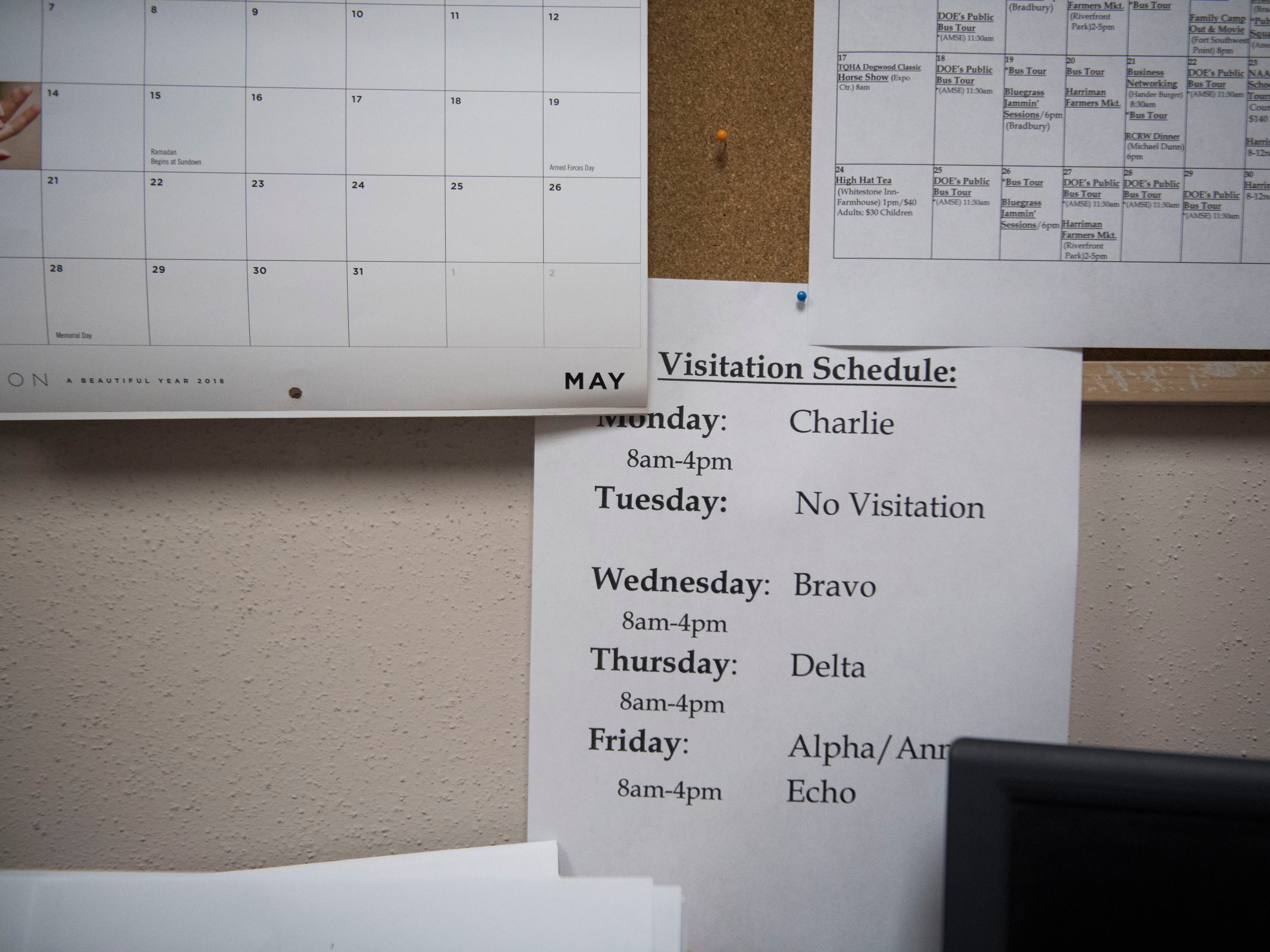 A copy of the video visitation schedule is seen in the Roane County Sheriff's Office and Detention Center Wednesday, May 30, 2018.