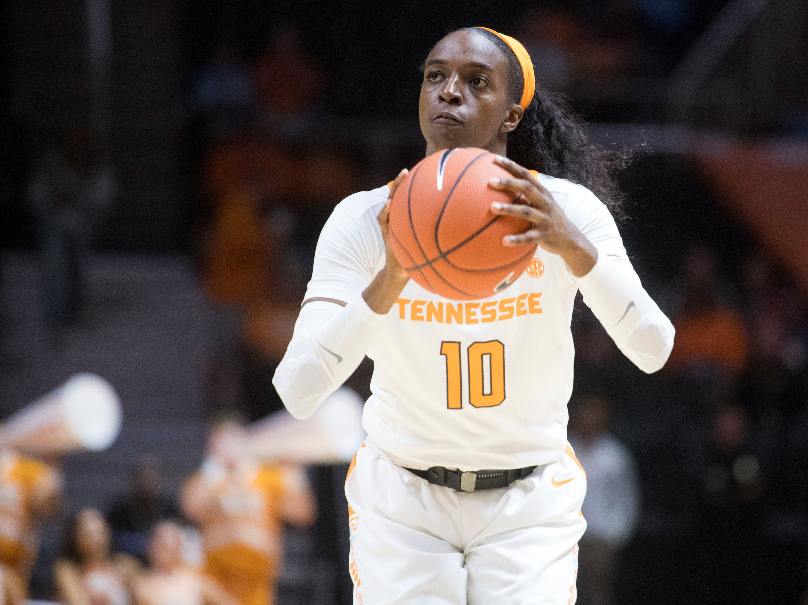 Tennessee's Meme Jackson (10) scores three-points against Florida A&M's on Sunday, November 18, 2018 at Thompson-Boling Arena.