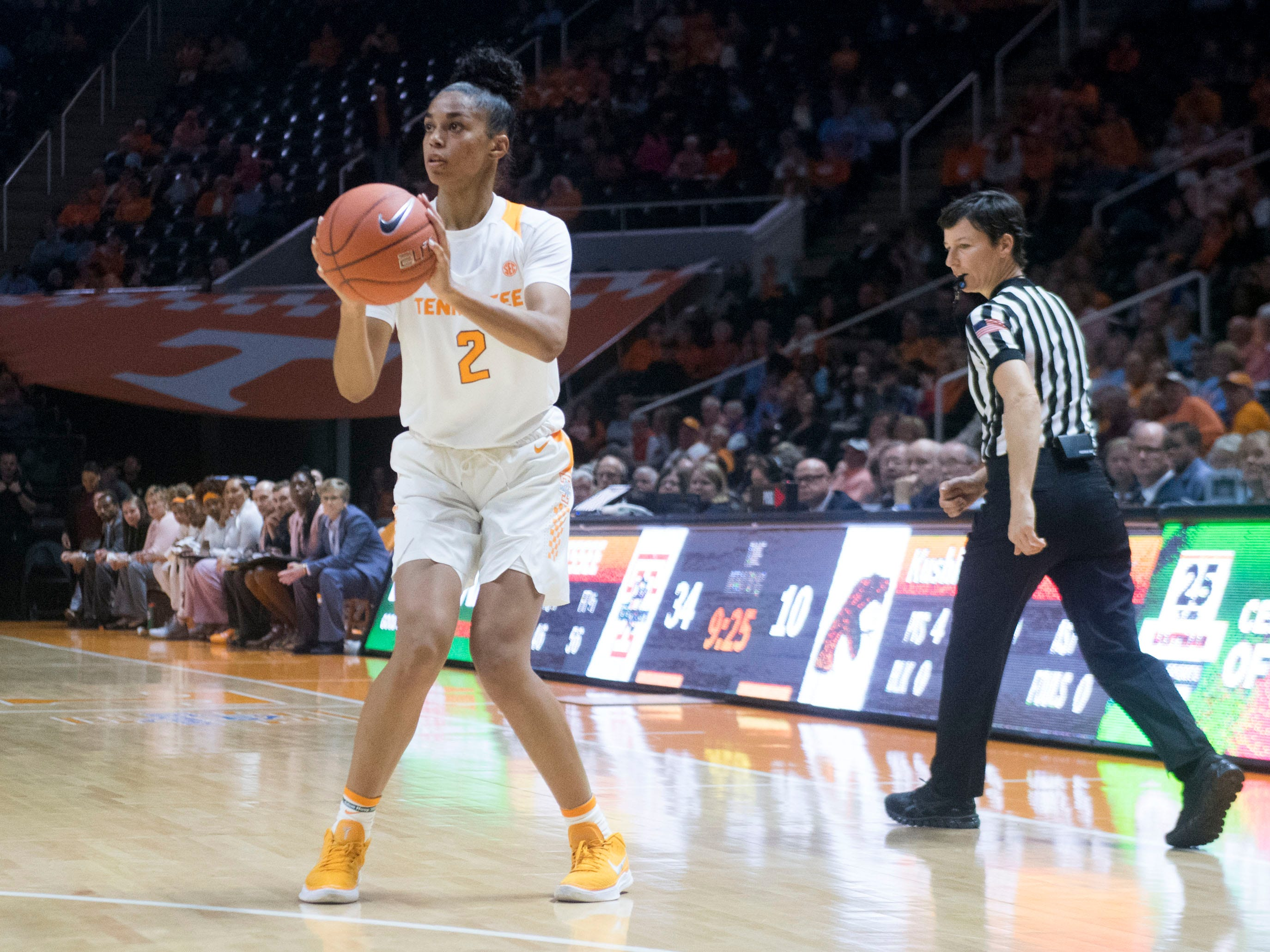 Tennessee's Evina Westbrook (2) on a three-point attempts against Florida A&M on Sunday, November 18, 2018 at Thompson-Boling Arena.