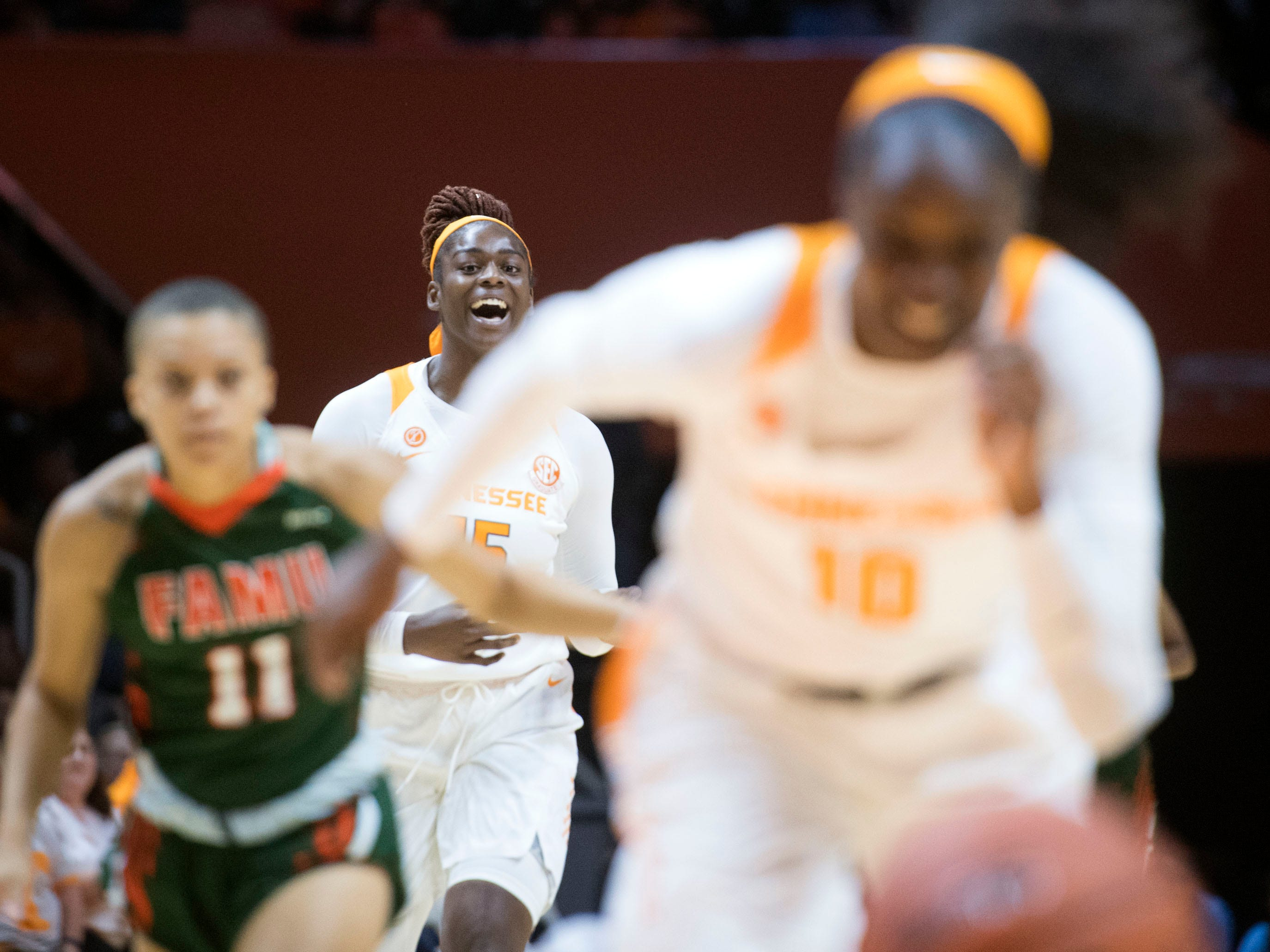 Tennessee's Cheridene Green (15) cheers on Meme Jackson (10) as she scrambles for the ball during the game against Florida A&M on Sunday, November 18, 2018.