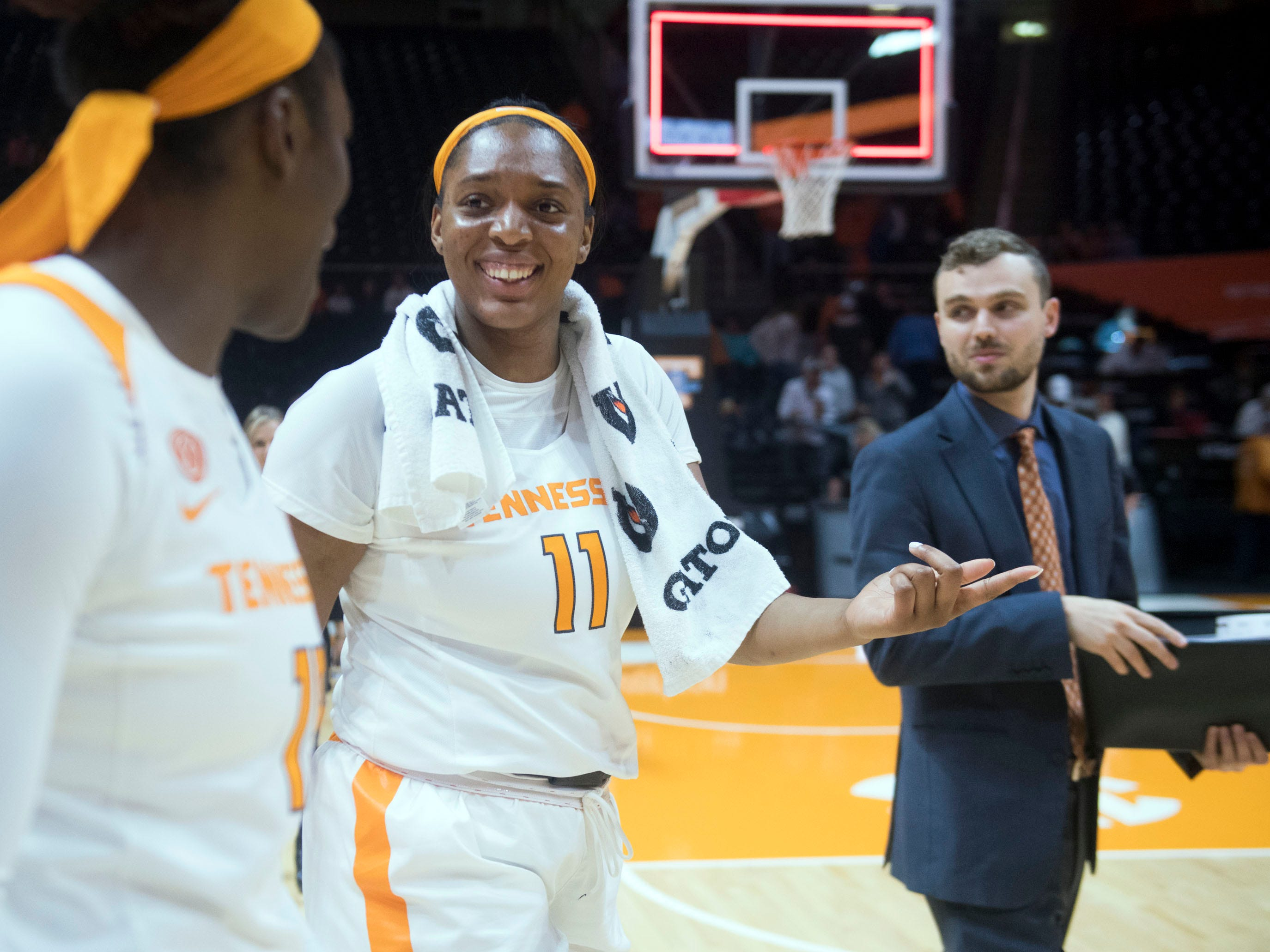 TennesseeÕs Kasiyahna Kushkituah (11) and Cheridene Green (15) at the end of the game against Florida A&M on Sunday, November 18, 2018 at Thompson-Boling Arena.