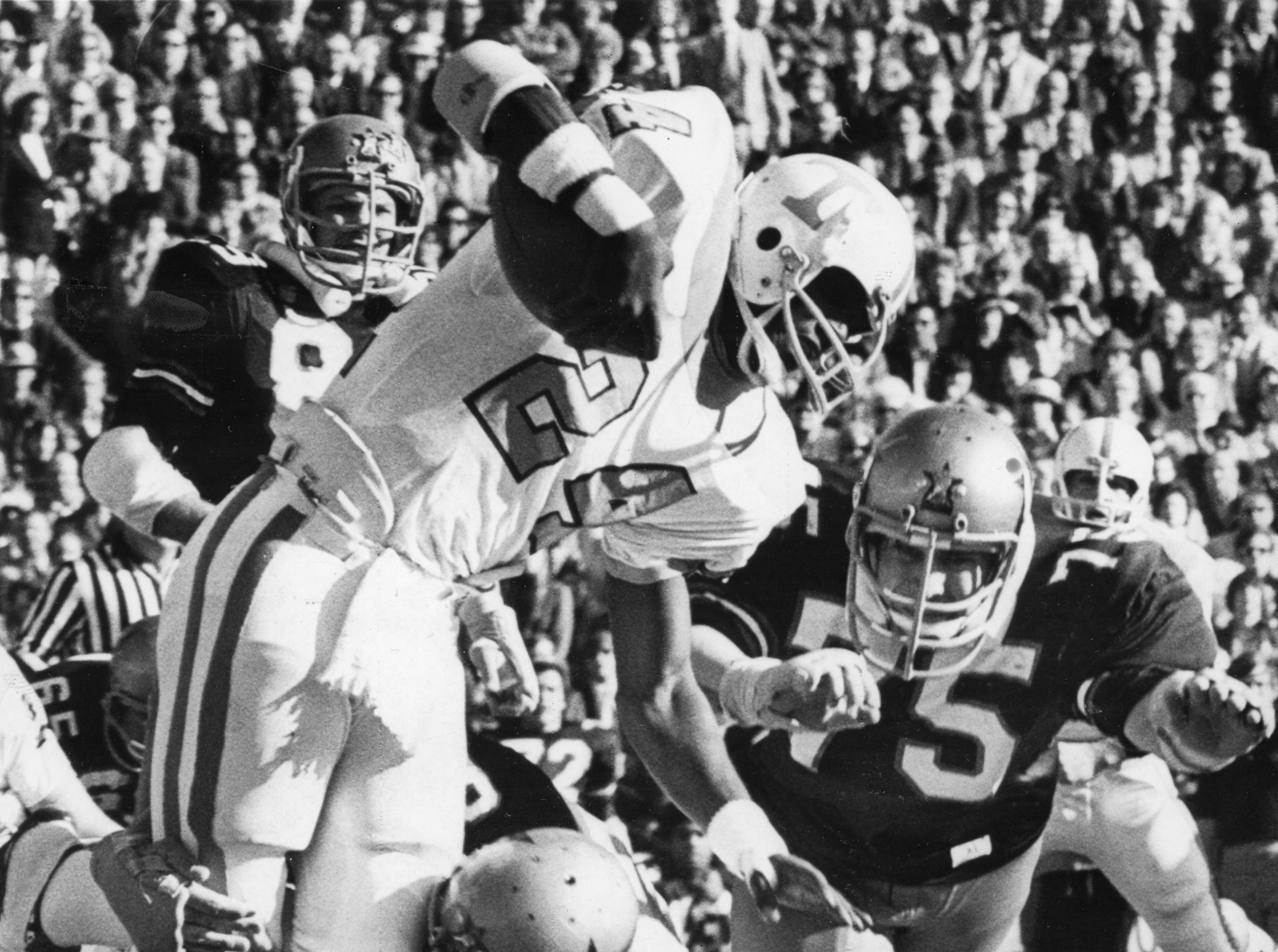Tennessee's Haskel Stanbeck (24) is attacked by Vanderbilt defense on December 2, 1972.