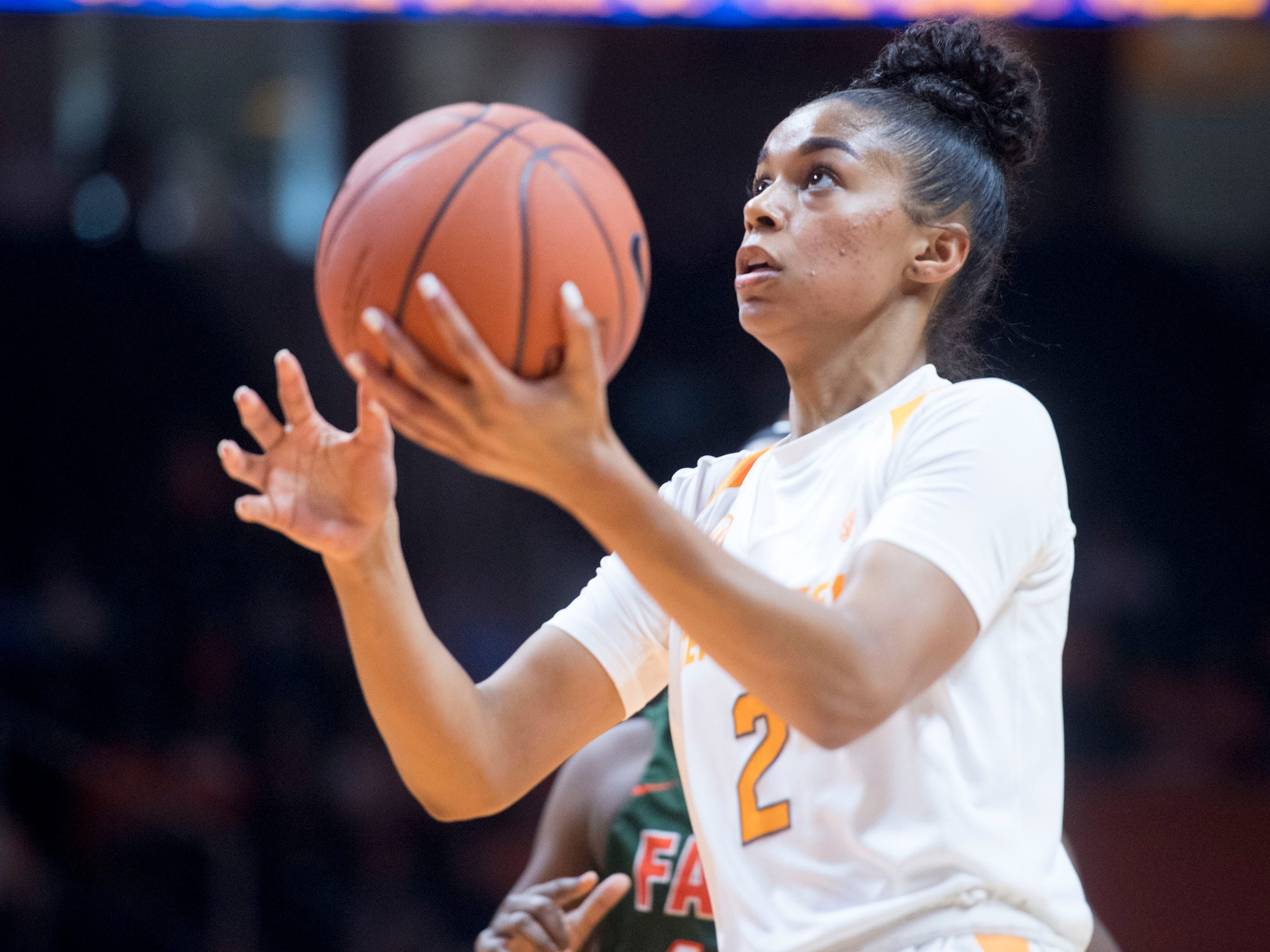 Tennessee's Evina Westbrook (2) attempts to score against Florida A&M Sunday, November 18, 2018 at Thompson-Boling Arena.