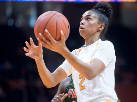 Tennessee's Evina Westbrook, shown driving to the basket earlier this season against Florida A&M, scored a career-high 29 points against Oklahoma State on Sunday.