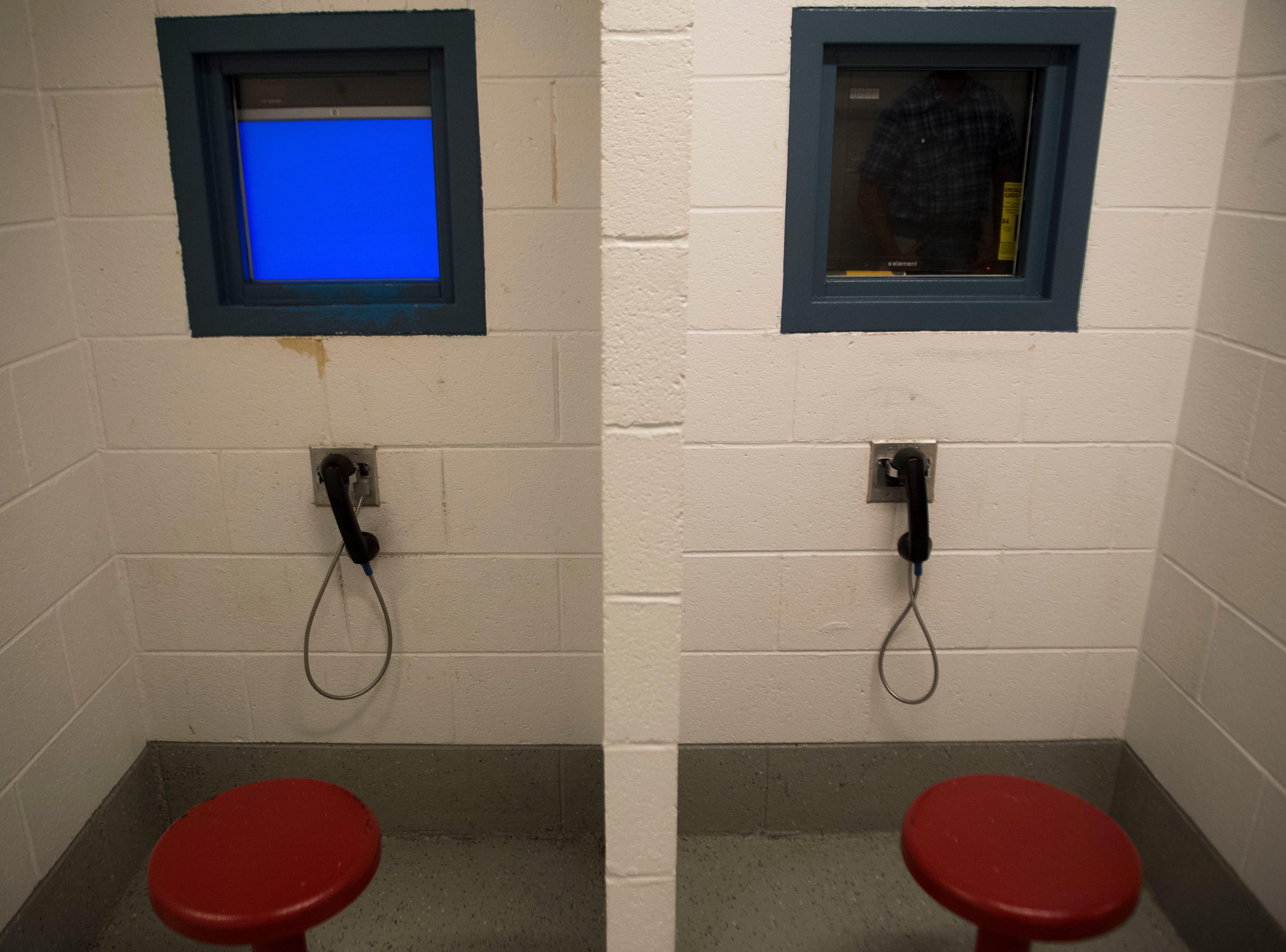 A video visitation area is set up for inmates at Claiborne County Jail in Claiborne County, Wednesday, Oct. 24, 2018.