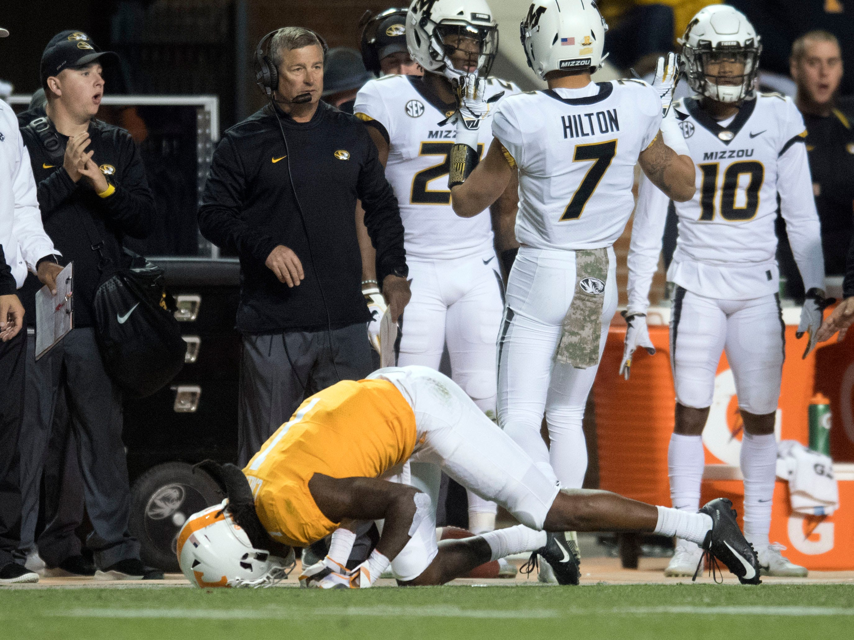 Tennessee wide receiver Marquez Callaway (1) stays down after a play during the game against Missouri on Saturday, November 17, 2018.