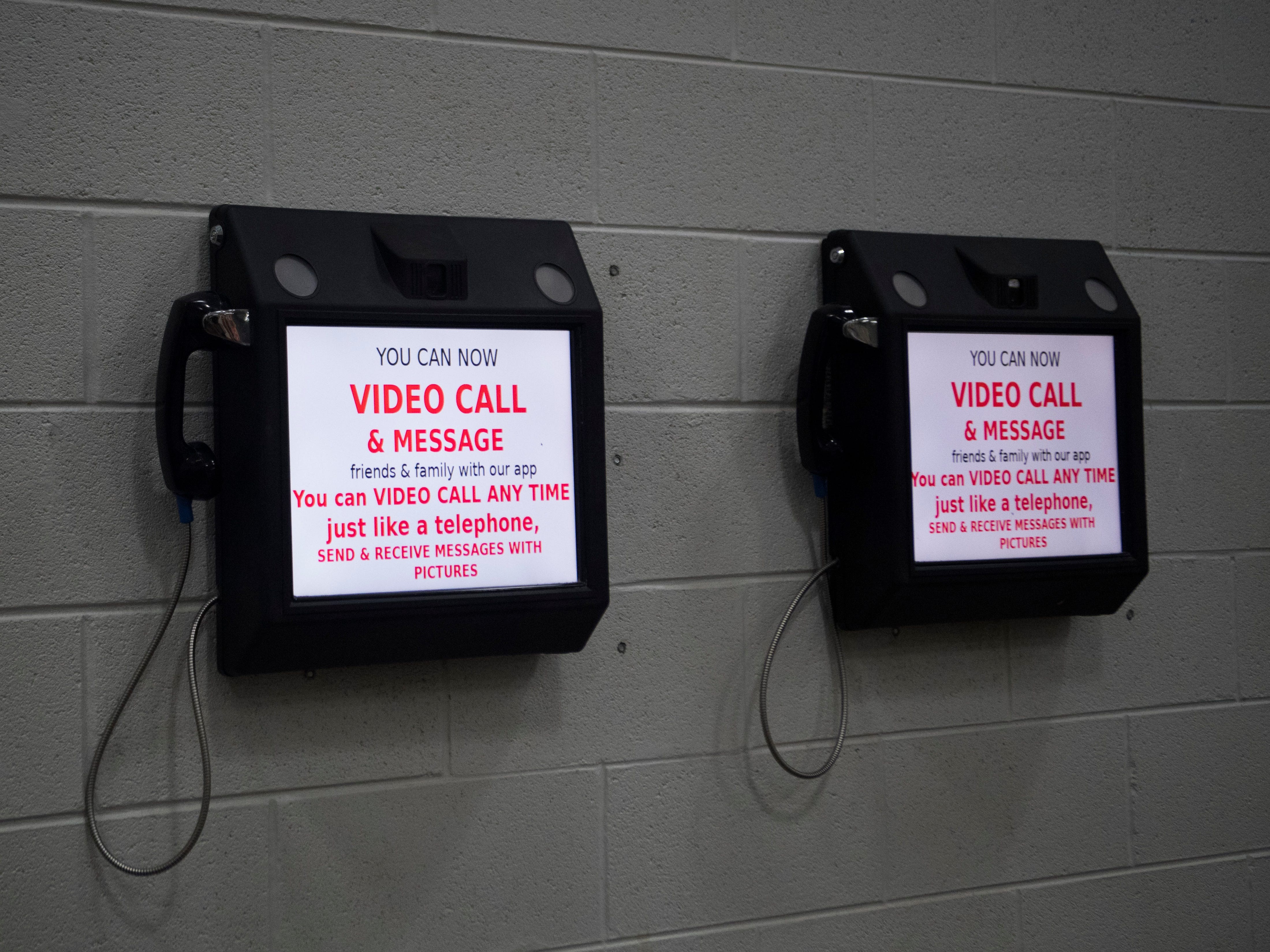 Video visitation units are seen in a pod at the Roane County Sheriff's Office and Detention Center Wednesday, May 30, 2018.