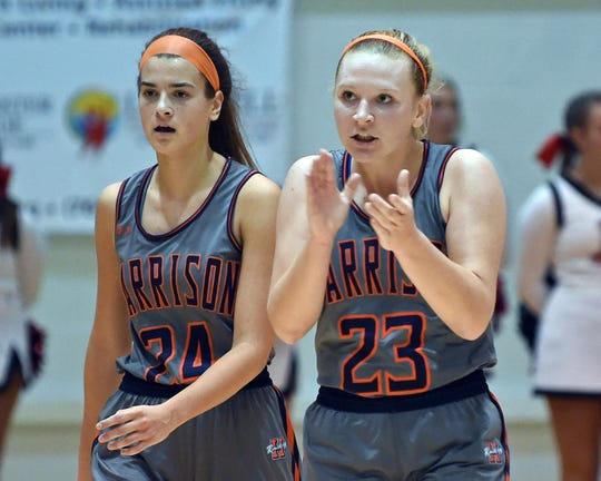 Senior Olivia Stansbury (right) and junior Tasi Kukobat are major players in Harrison's supporting cast around the program's all-time leading scorer Sydney Jacobsen.