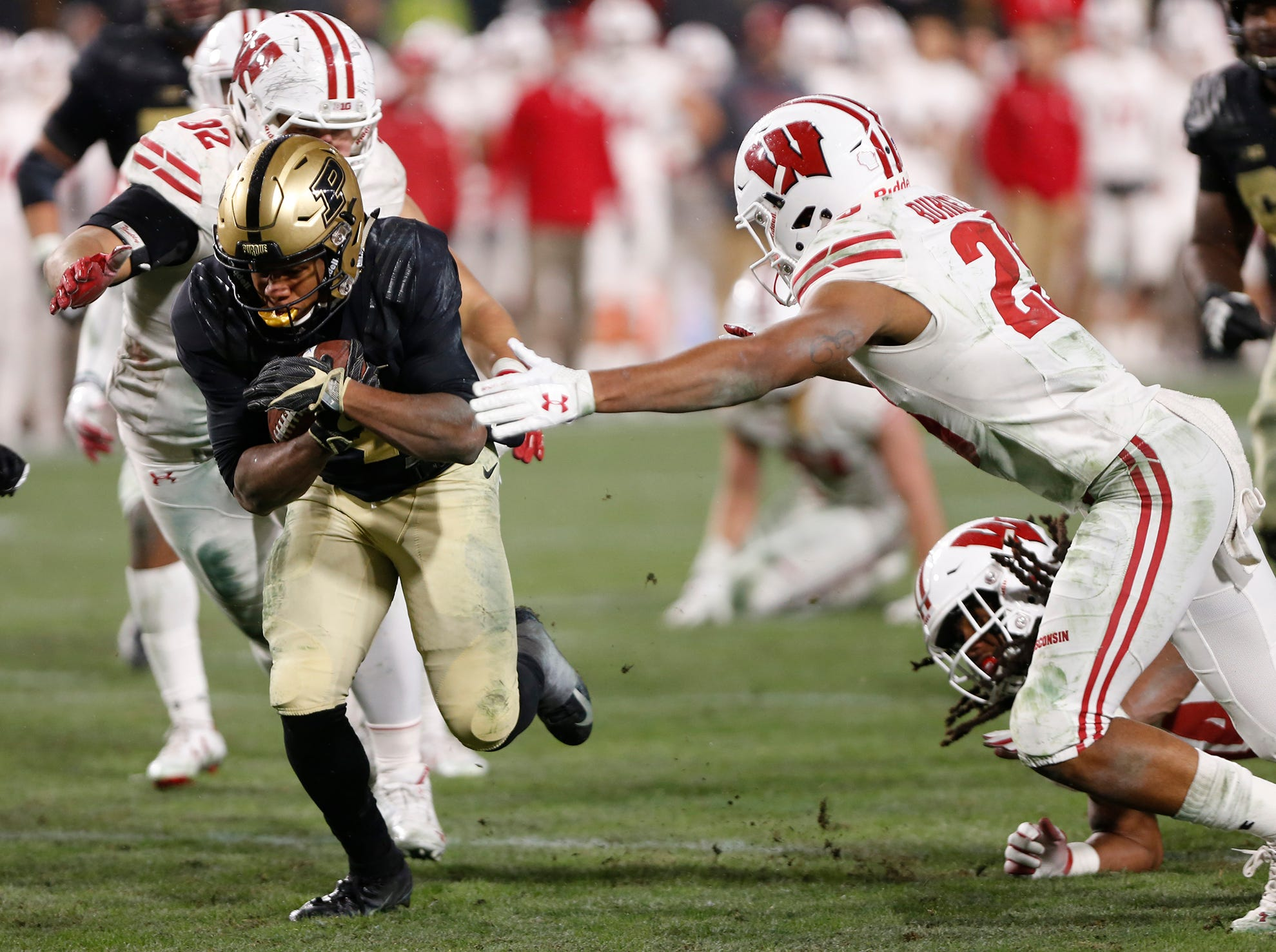 Rondale Moore of Purdue with a touchdown in the first overtime period against Wisconsin Saturday, November 17, 2018, at Ross-Ade Stadium. Purdue fell to Wisconsin 47-44 3OT.