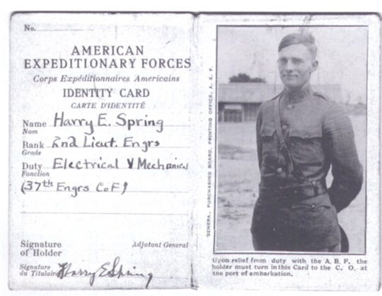 """In a photo from the book, """"An Engineer's Diary of the Great War,"""" 2nd Lt. Harry Spring was a native of Dayton, Ind., and a Purdue University alumnus."""