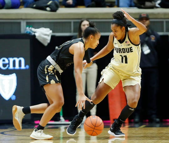 Dominique Oden of Purdue picks up De'Jour Young of  Purdue Ft. Wayne Sunday, November 18, 2018, at Mackey Arena. The Boilermakers defeated the Mastadons 78-44.