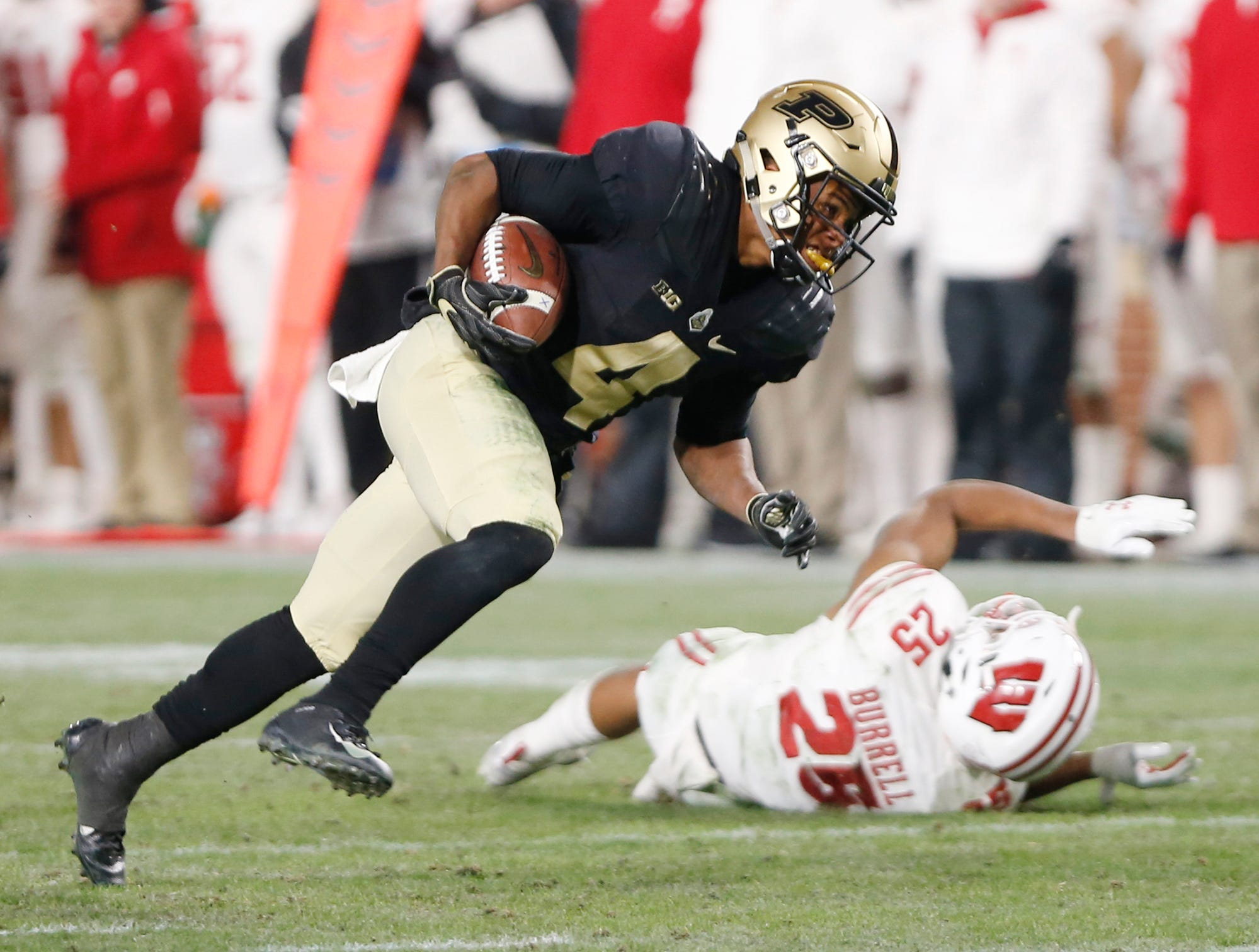 Rondale Moore of Purdue with a touchdown reception with 57 seconds remaining in the third quarter against Wisconsin Saturday, November 17, 2018, at Ross-Ade Stadium. Purdue fell to Wisconsin 47-44 3OT.