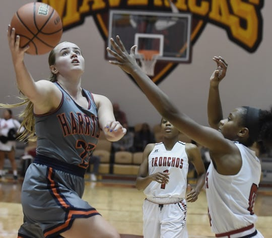 Tournament MVP Sydney Jacobsen drives into the paint for Harrison Saturday night.