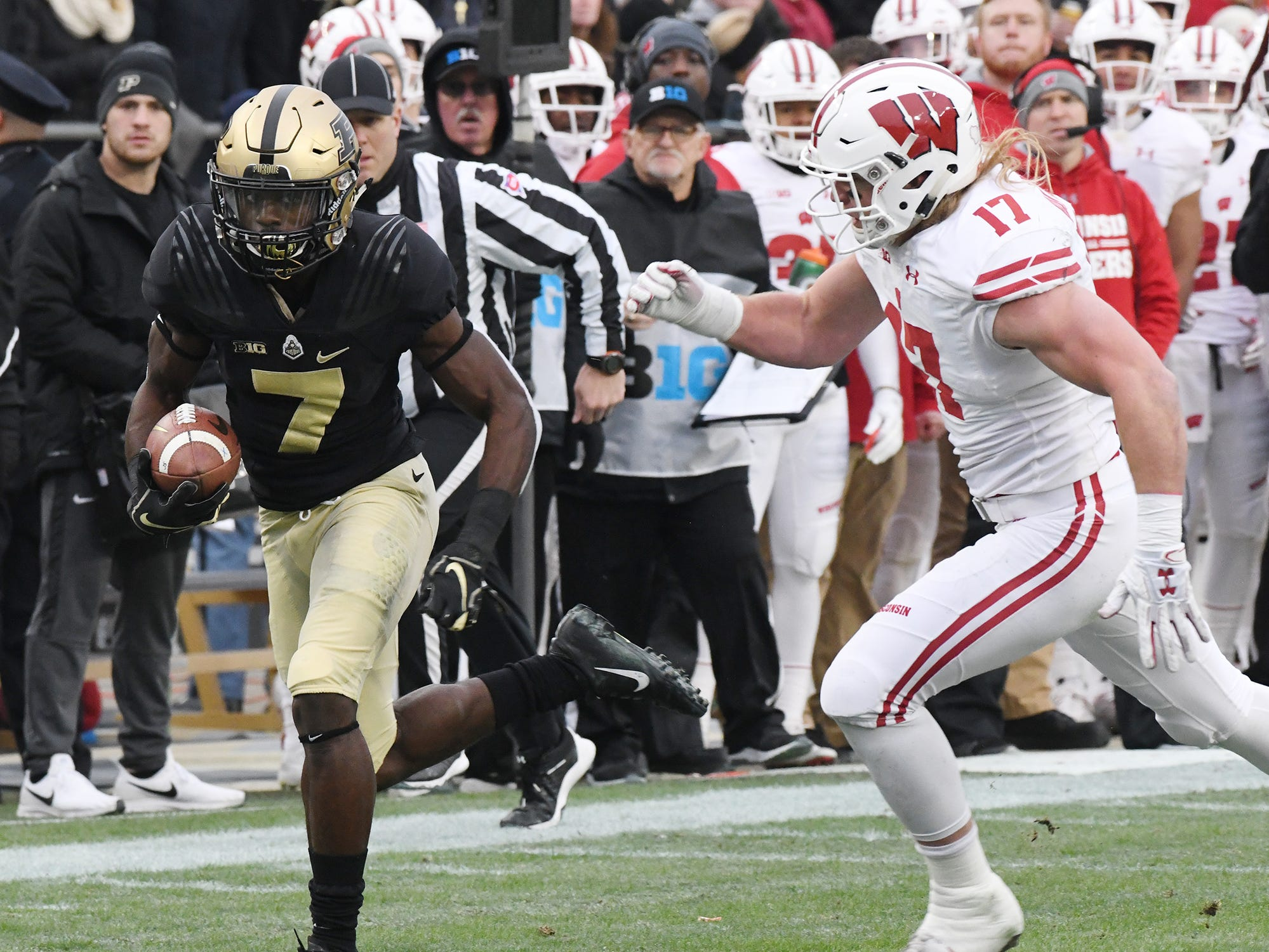 Isaac Zico with a first half pass reception against Wisconsin Saturday, November 17, 2018, at Ross-Ade Stadium.
