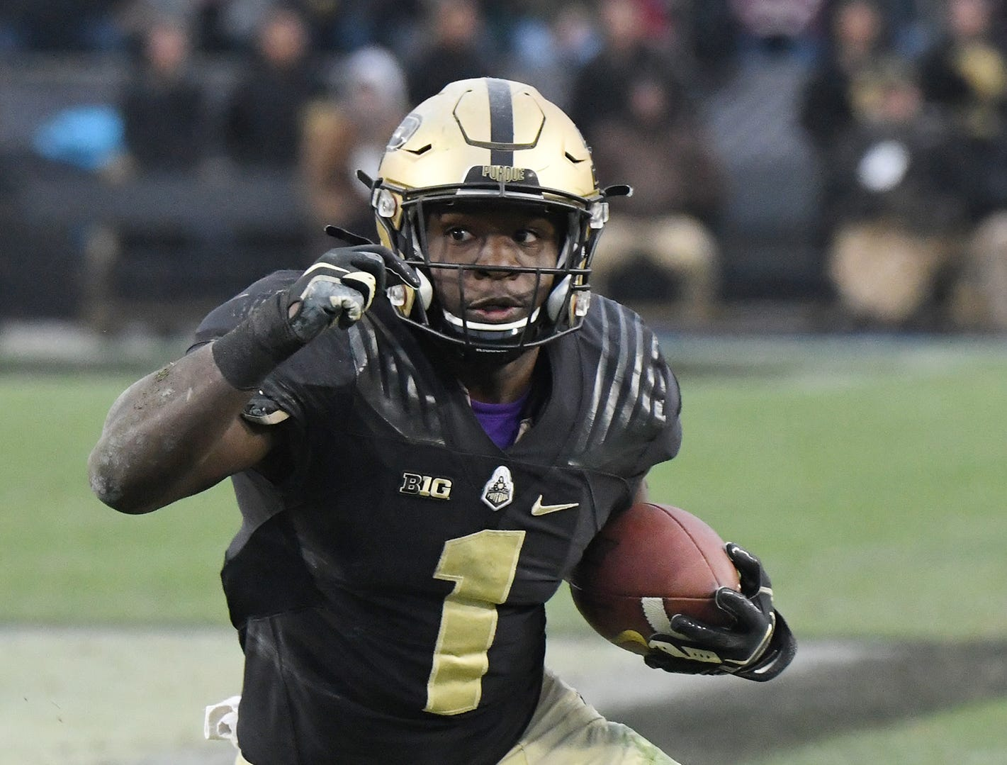 D. J. Knox of Purdue on a touchdown reception in the first half against Wisconsin Saturday, November 17, 2018, at Ross-Ade Stadium.