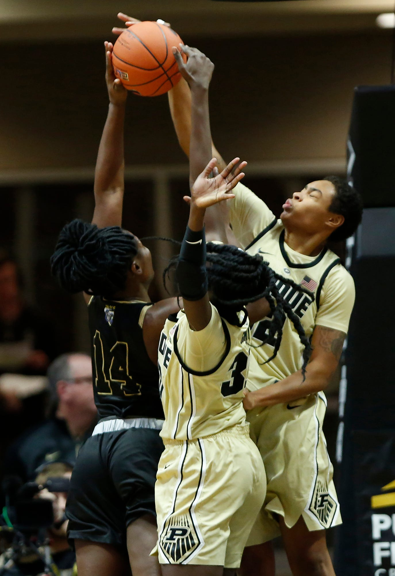 Ae'Rianna Harris of Purdue blocks a shot by Sh'Toya Sanders of Purdue Ft. Wayne Sunday, November 18, 2018, at Mackey Arena. The Boilermakers defeated the Mastadons 78-44.