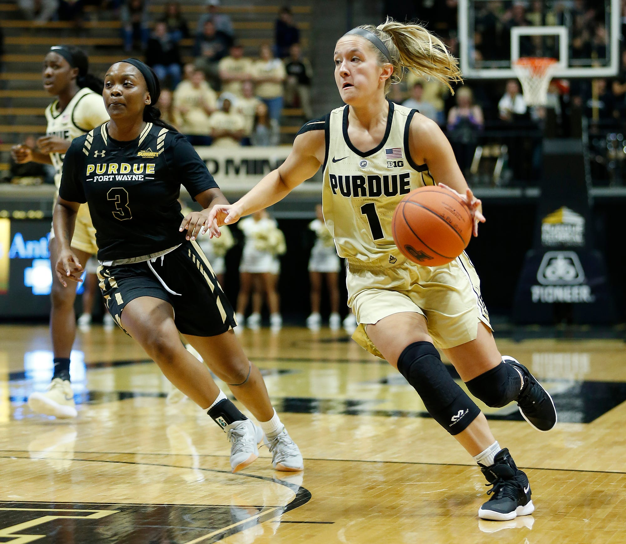 Karissa McLaughlin of Purdue leads a fast break in the second half against Purdue Ft. Wayne Sunday, November 18, 2018, at Mackey Arena. The Boilermakers defeated the Mastadons 78-44.