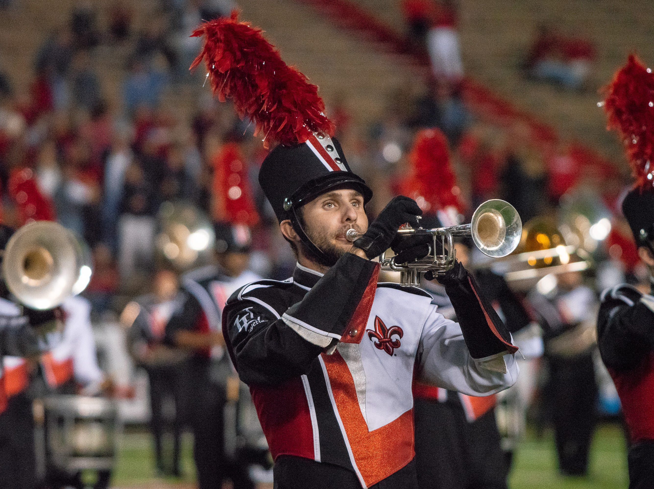The Pride of Acadiana performs at half-time as the Ragin' Cajuns play against the South Alabama Jaguars at Cajun Field on November 17, 2018.