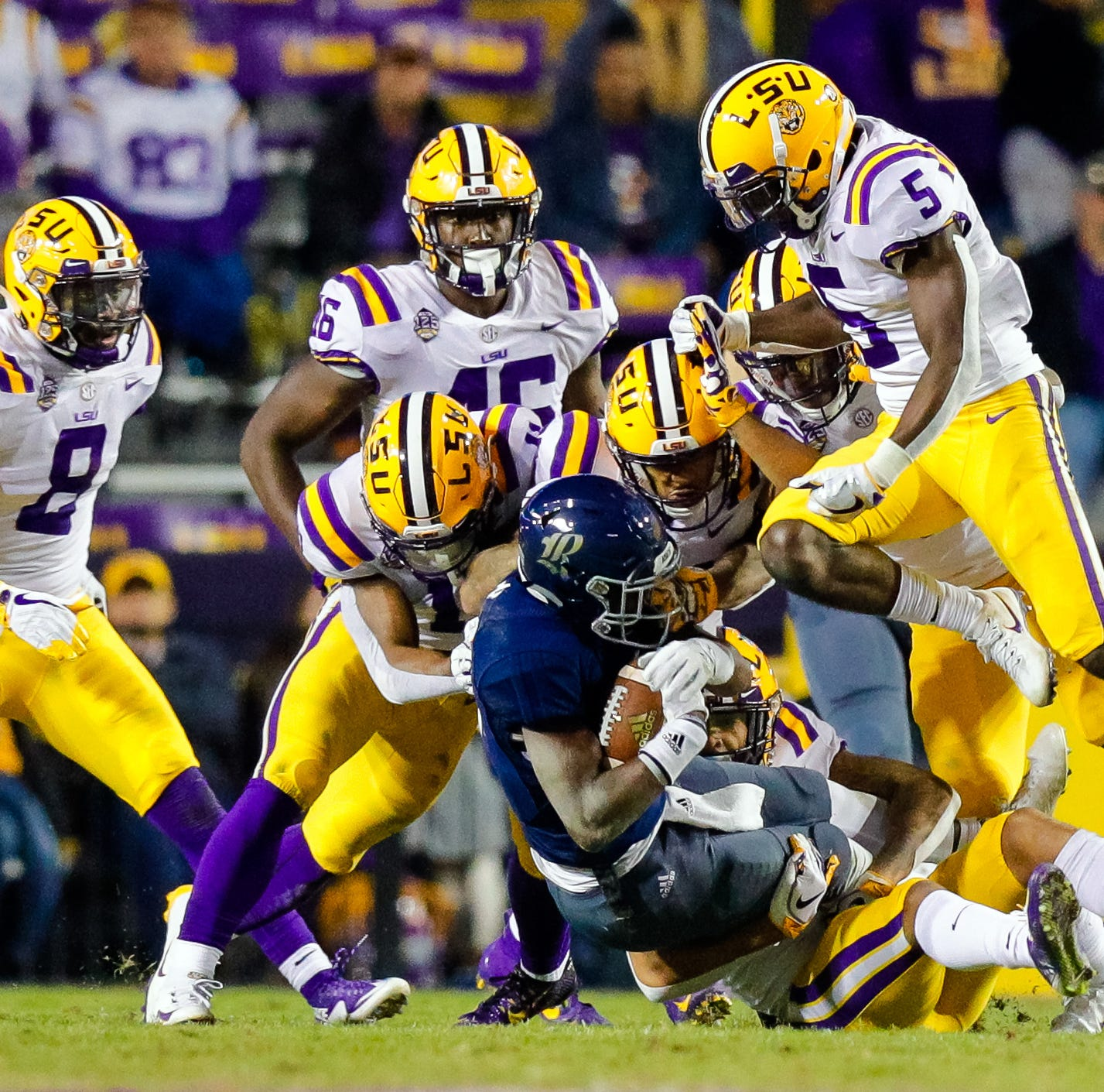 LSU rips Rice, 42-10, but with the point spread, that would be a 54-42 win for the Owls