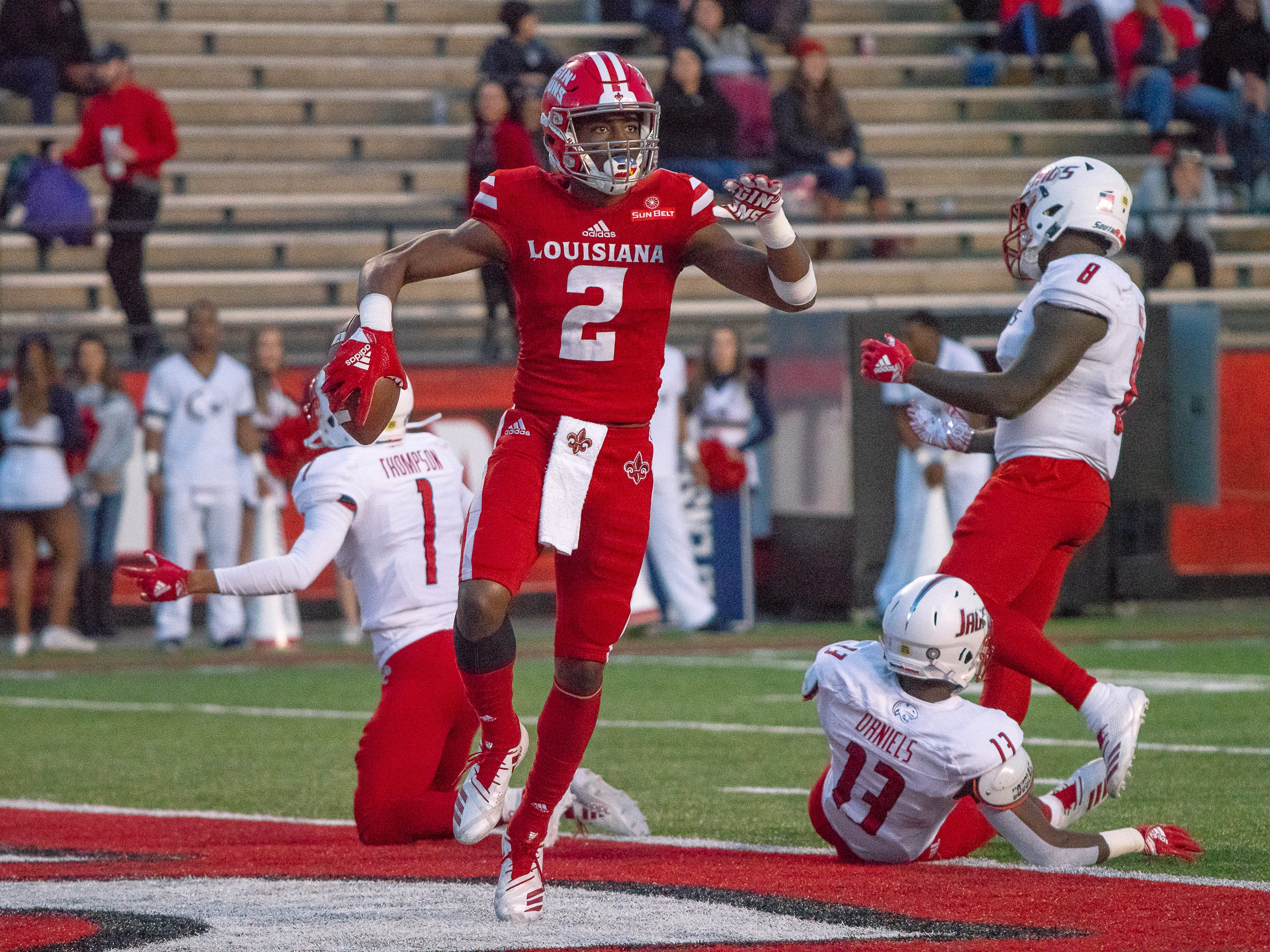 UL's Ja'Marcus Bradley celebrates his touchdown in the endzone as the Ragin' Cajuns play against the South Alabama Jaguars at Cajun Field on November 17, 2018.