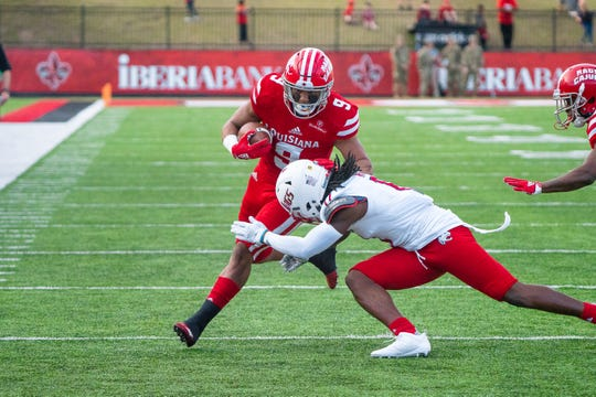 UL running back Trey Ragas, shown here against South Alabama late last season, hurt a knee in spring practice and is having arthroscopic surgery.