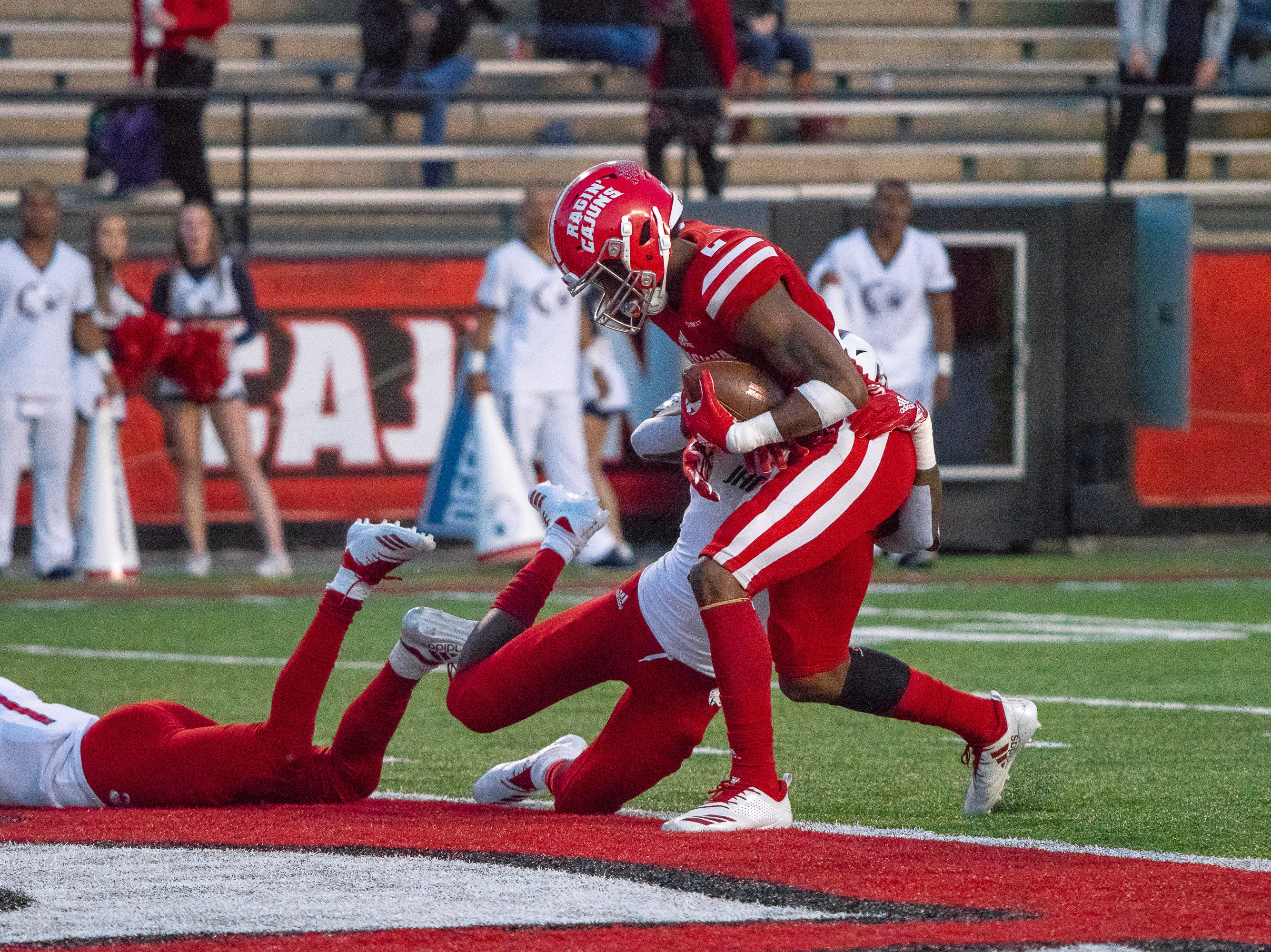 UL's Ja'Marcus Bradley charges into the endzone to score as the Ragin' Cajuns play against the South Alabama Jaguars at Cajun Field on November 17, 2018.