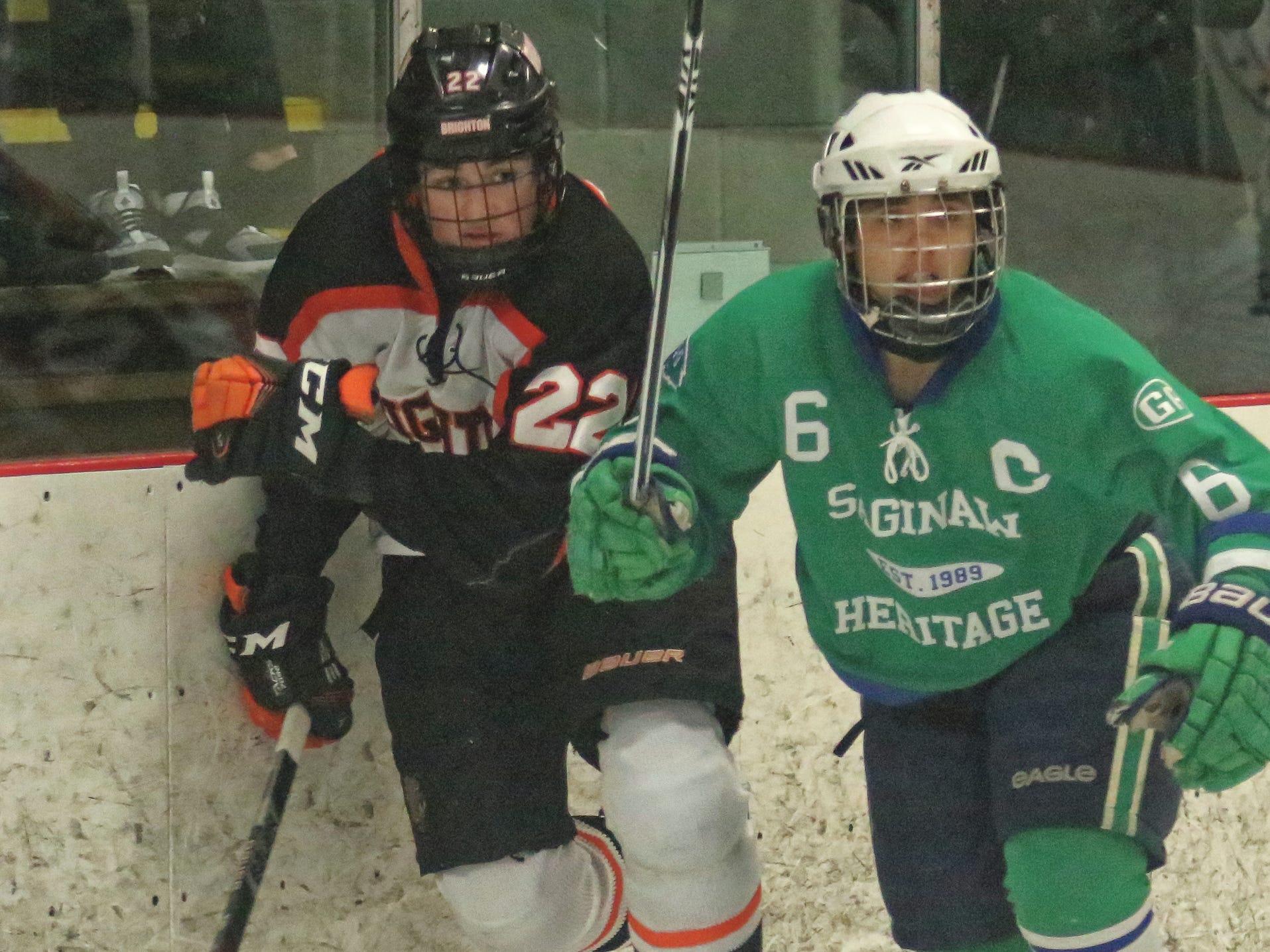 Saginaw Heritage stuns Brighton, 7-1, in state hockey final rematch