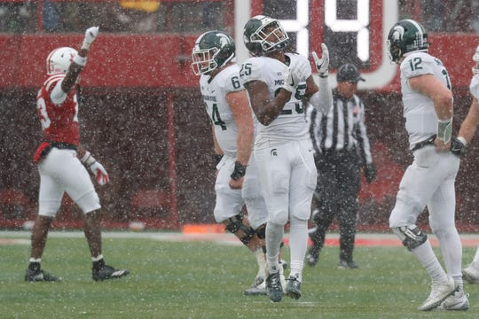 Michigan State receiver Darrell Stewart Jr. (25) reacts after a fourth-down pass fell incomplete late in the game against the Nebraska on Saturday in Lincoln.