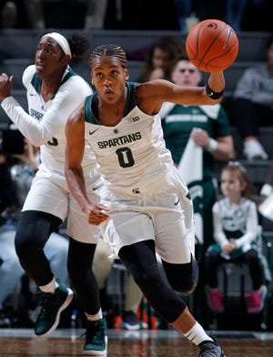 Michigan State's Shay Colley pushes the ball after making a steal against Wright State, Sunday, Nov. 18, 2018, in East Lansing, Mich. MSU won 84-69.