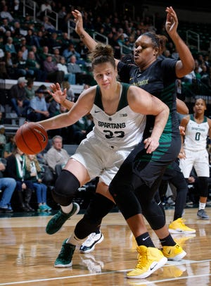 Michigan State's Jenna Allen, left, drives against Wright State's Tyler Frierson, Sunday, Nov. 18, 2018, in East Lansing, Mich. MSU won 84-69.