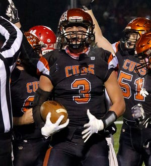 Lucas' Logan Niswander gets hyped after scoring a touchdown during a playoff game last year. He is as hyped as the Mansfield News Journal sports reporters are about the start of the 2019 high school football season.