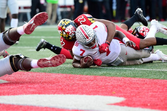 Ohio State quarterback Dwayne Haskins scores what proves to be the decisive touchdown in Saturday's 52-51 overtime win at Maryland.