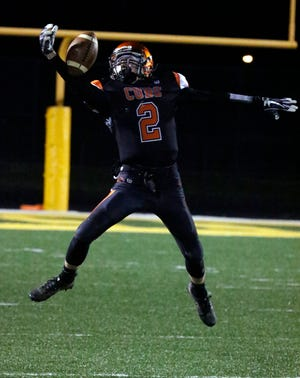 Lucas' Carson Hauger accounted for four touchdowns catching three piling up 128 receiving yards while also adding a kickoff return for a touchdown on the opening kick in Lucas' 38-14 win over Centerburg.