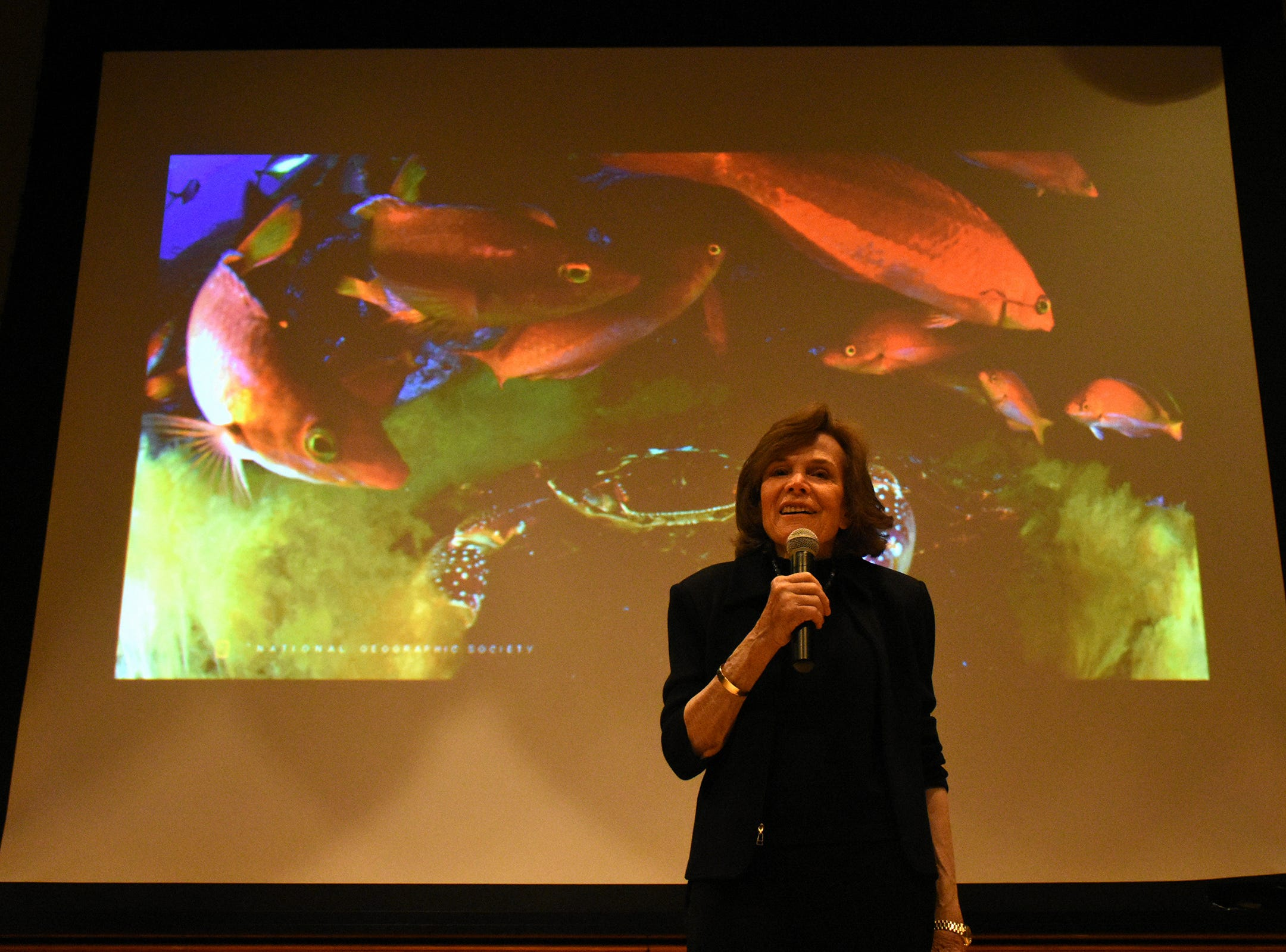 Dr. Earle speaks to students from second through 12th grades. Seacrest Country Day School students heard from a renowned oceanographer, and she heard from them, when Dr. Sylvia Earle visited the Naples preparatory school for a presentation and workshops on Wednesday, Nov. 14.