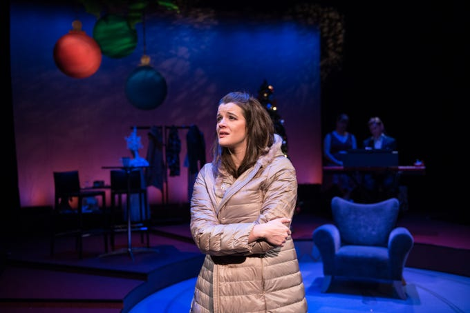 "Susie Duecker ponders being single during the holidays in ""The Twelve Dates of Christmas"" at Next Act Theatre."
