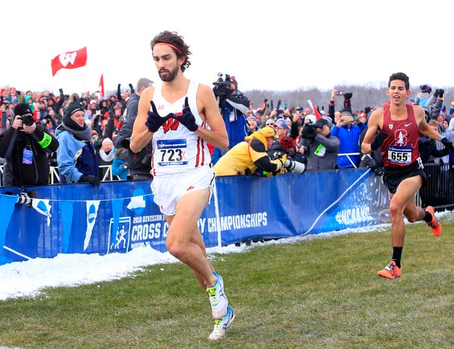 Morgan McDonald of Wisconsin crosses the line ahead of Grant Fisher of Stanford to win the men's race in 29:08.3 during the NCAA cross country championships at the Thomas Zimmer Championship Course in Madison.