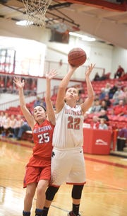 Norfork's Kynzie Rangel goes up for two against Melbourne on Saturday.