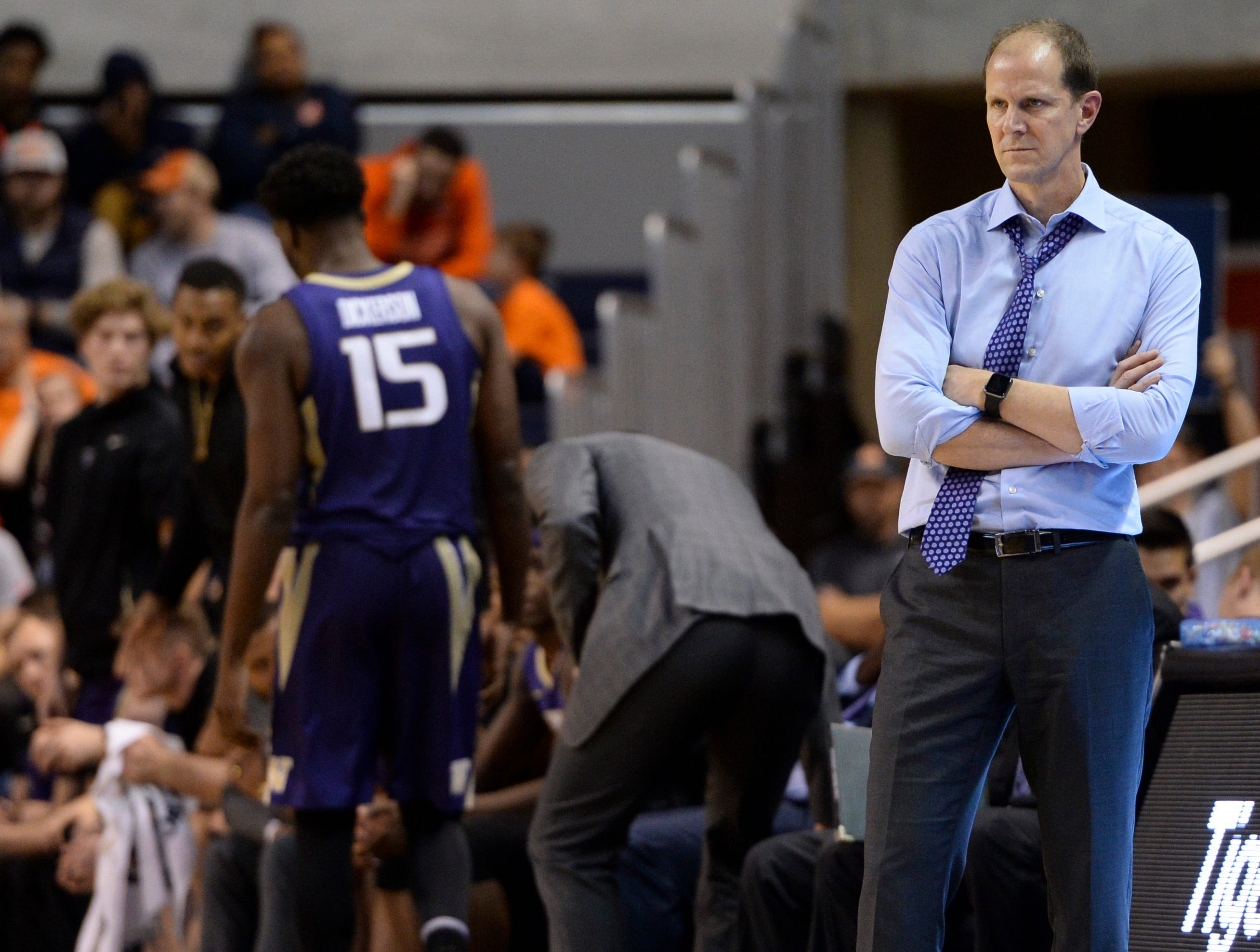 Nov 9, 2018; Auburn, AL, USA; Washington Huskies head coach Mike Hopkins watches the second half of play against the Auburn Tigers at Auburn Arena. Mandatory Credit: Julie Bennett-USA TODAY Sports