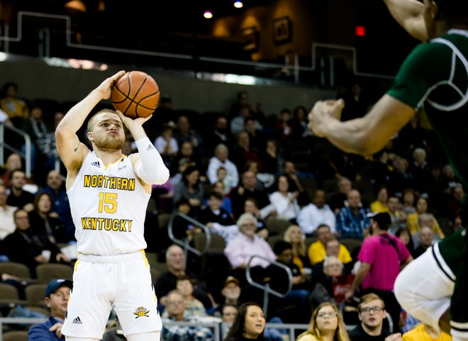 Northern Kentucky Norse guard Tyler Sharpe (15) shoots a 3-pointer during the NCAA men's basketball game between Northern Kentucky Norse and Manhattan Jaspers in the Northern Kentucky Basketball Classic tournament on Saturday, Nov. 17, 2018, at NKU's BB&T Arena in Highland Heights, Ky.