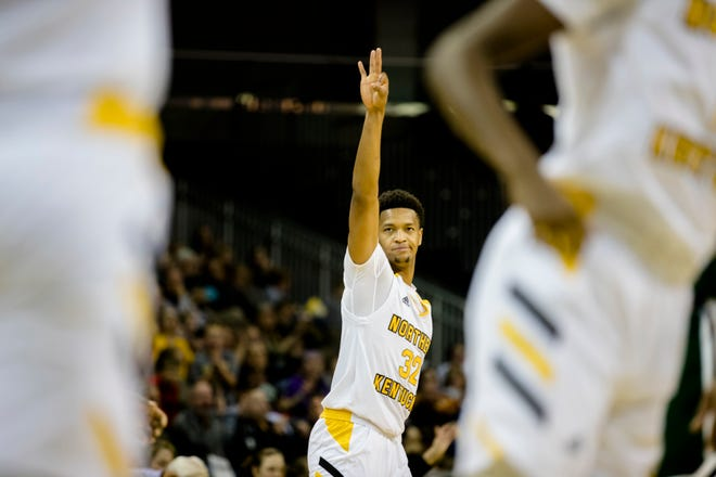 Northern Kentucky Norse forward Dantez Walton (32) celebrates after hitting a 3-pointer during the NCAA men's basketball game between Northern Kentucky Norse and Manhattan Jaspers in the Northern Kentucky Basketball Classic tournament on Saturday, Nov. 17, 2018, at NKU's BB&T Arena in Highland Heights, Ky.