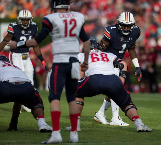 Auburn defensive lineman Big Kat Bryant (1) gets ready to rush the line against Liberty at Jordan-Hare Stadium in Auburn, Ala., on Saturday, Nov.. 17, 2018. Auburn defeated Liberty 53-0.