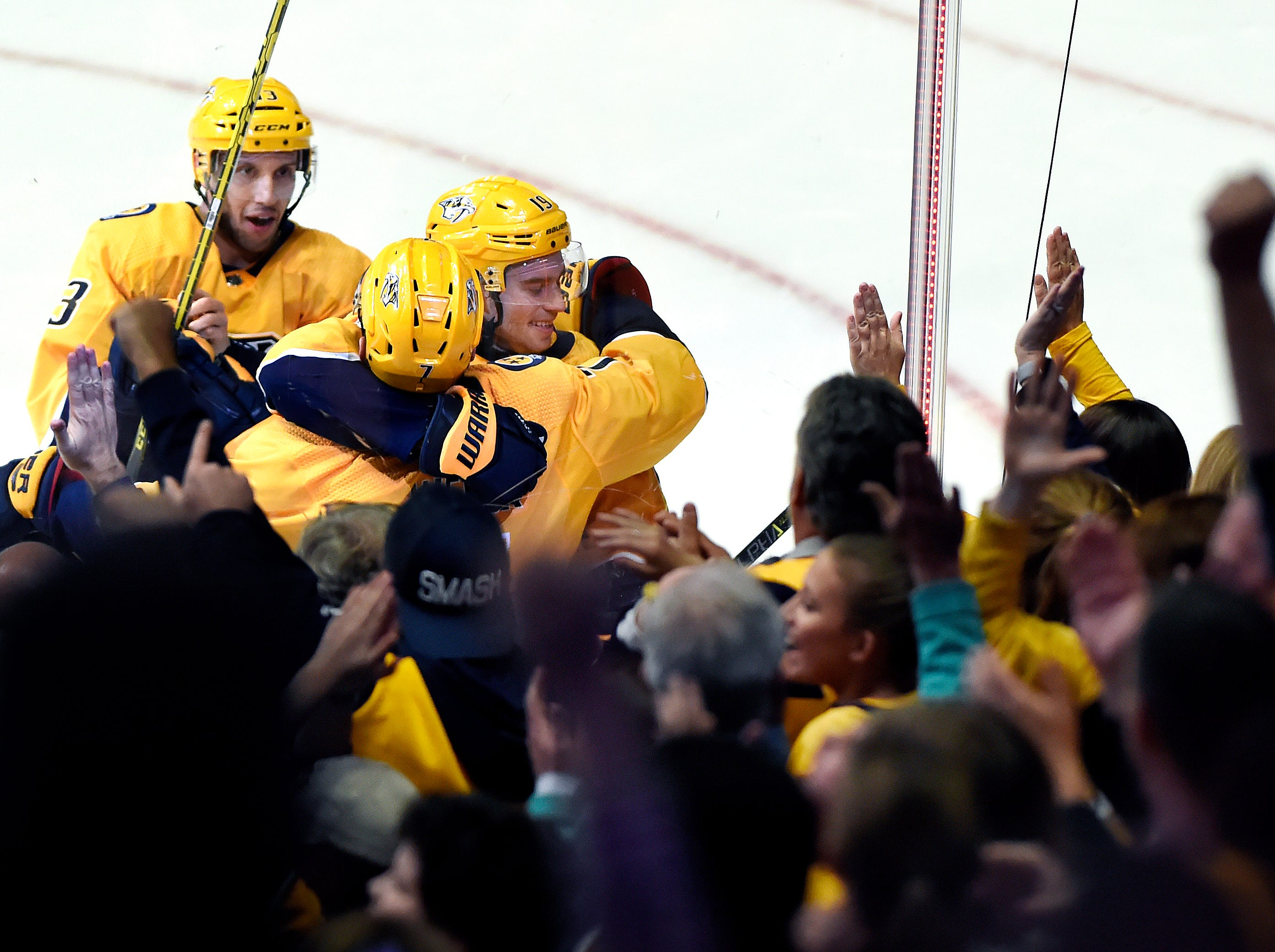 Nov. 17: Predators 5, Kings 3 -- Nashville Predators center Calle Jarnkrok (19), of Sweden, celebrates with defenseman Yannick Weber (7), of Switzerland, and center Nick Bonino (13) after scoring his third goal, giving him a hat trick, against the Los Angeles Kings during the third period of an NHL hockey game Saturday, Nov. 17, 2018, in Nashville, Tenn.