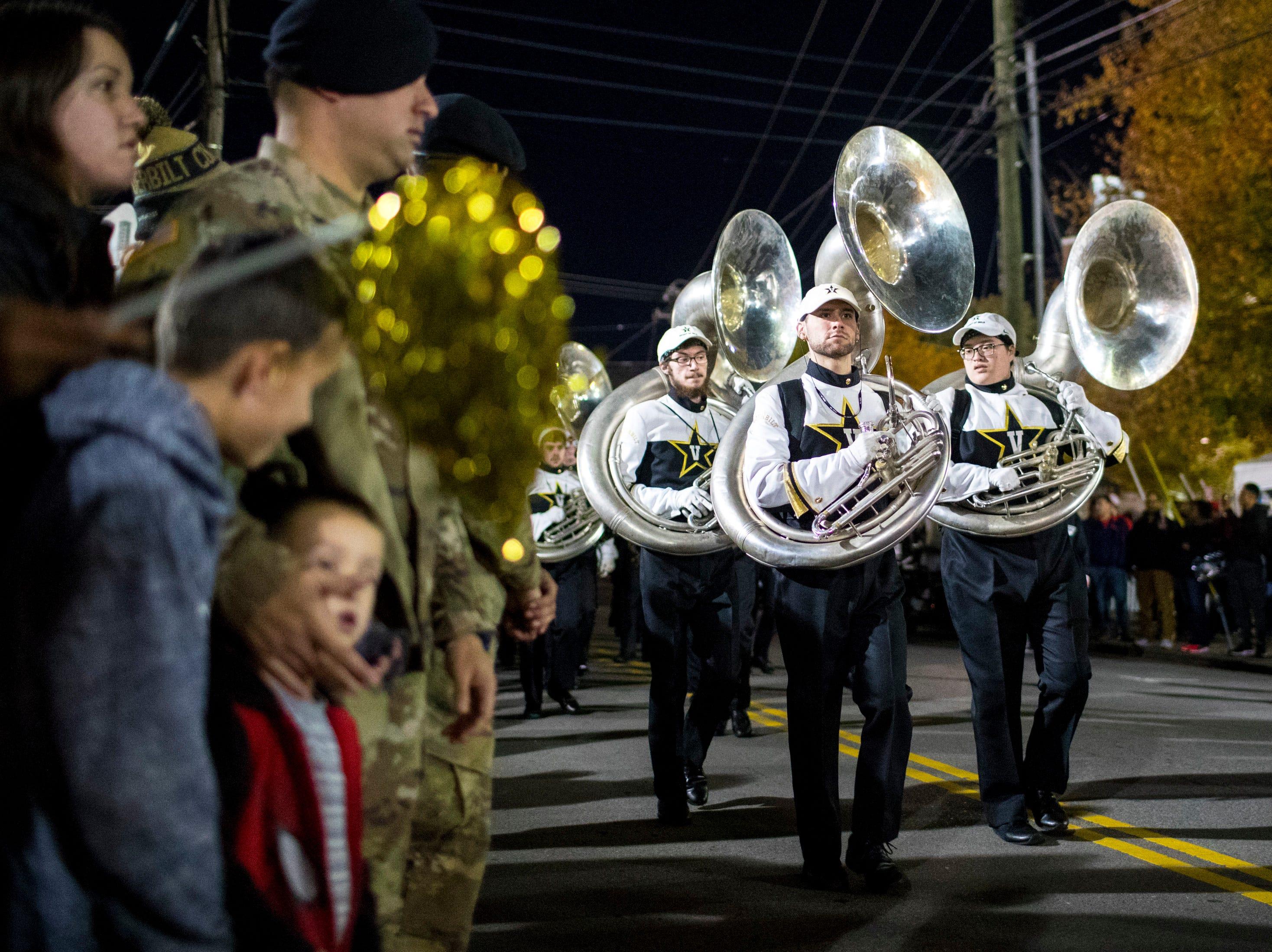 Vanderbilt's band marches to the star walk before Vanderbilt's game against Ole Miss outside of Vanderbilt Stadium in Nashville on Saturday, Nov. 17, 2018.