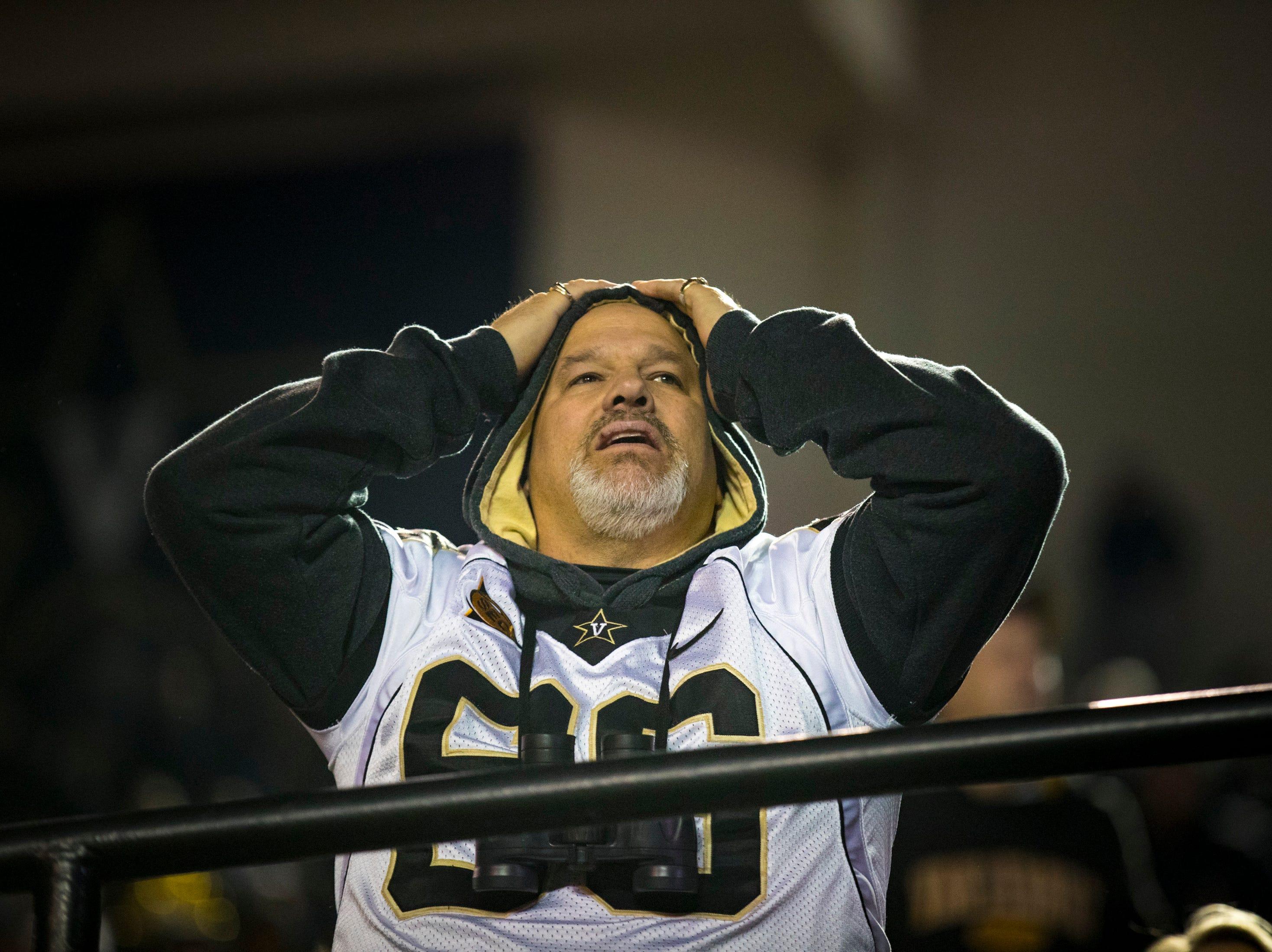 A Vanderbilt fan reacts to a call on the field during Vanderbilt's game against Ole Miss at Vanderbilt Stadium in Nashville on Saturday, Nov. 17, 2018.